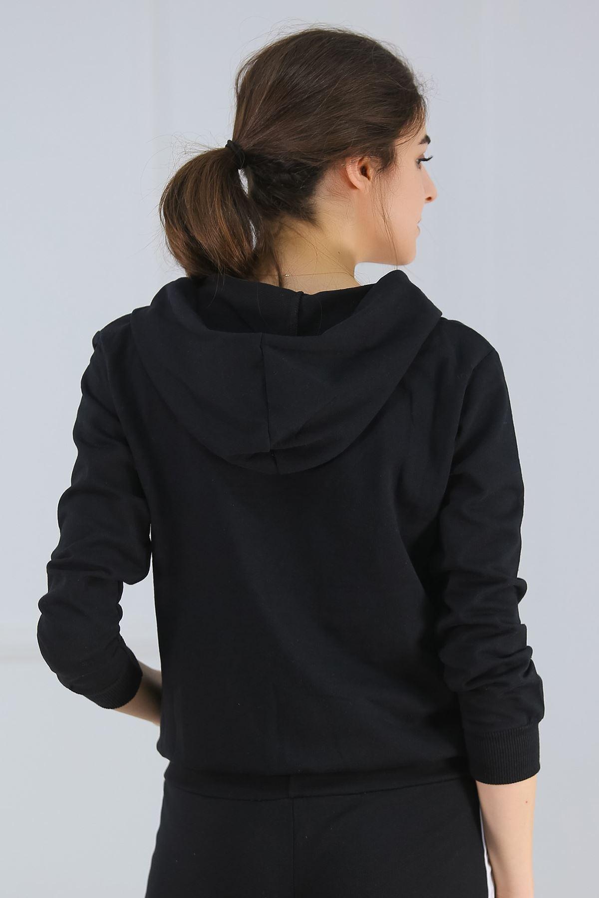 Kapşonlu Fermuarlı Sweat Siyah - 4378.1005.