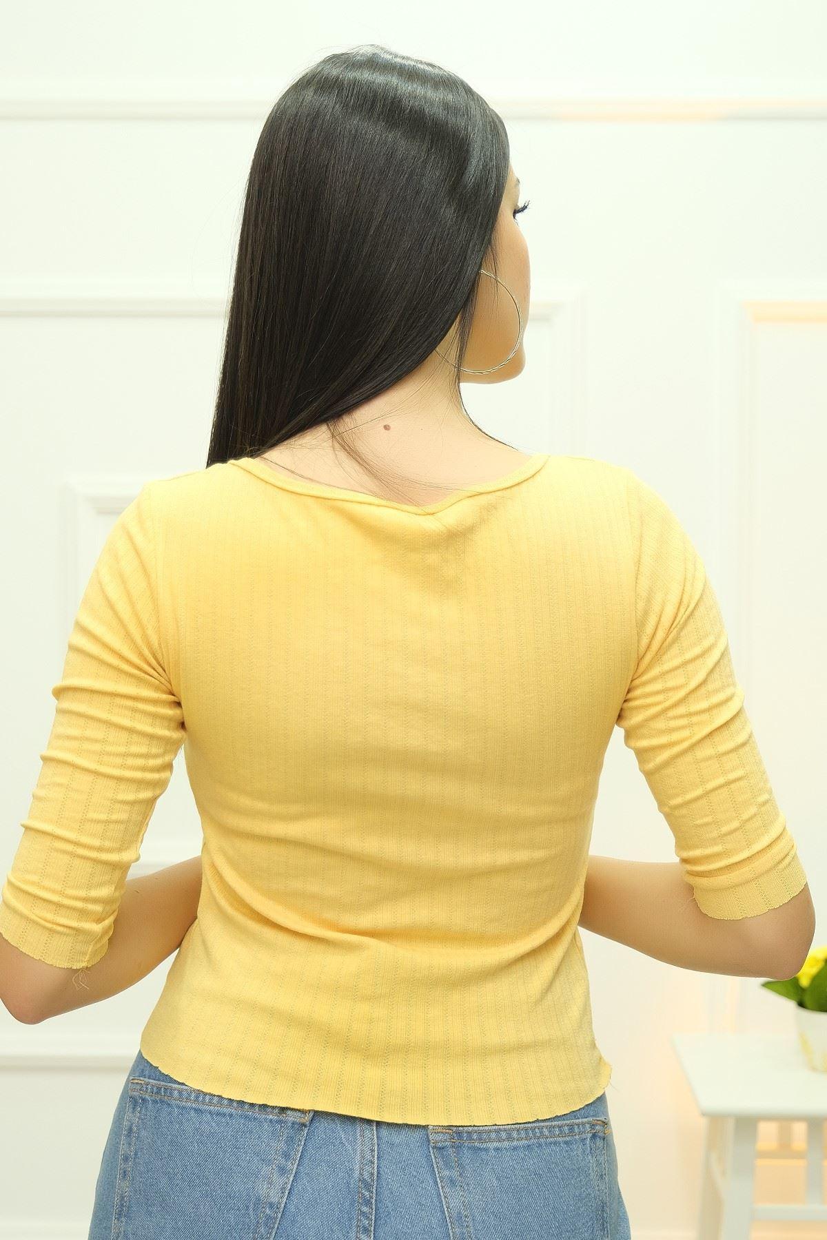 Geniş Yaka Body Sarı - 8101.1232.