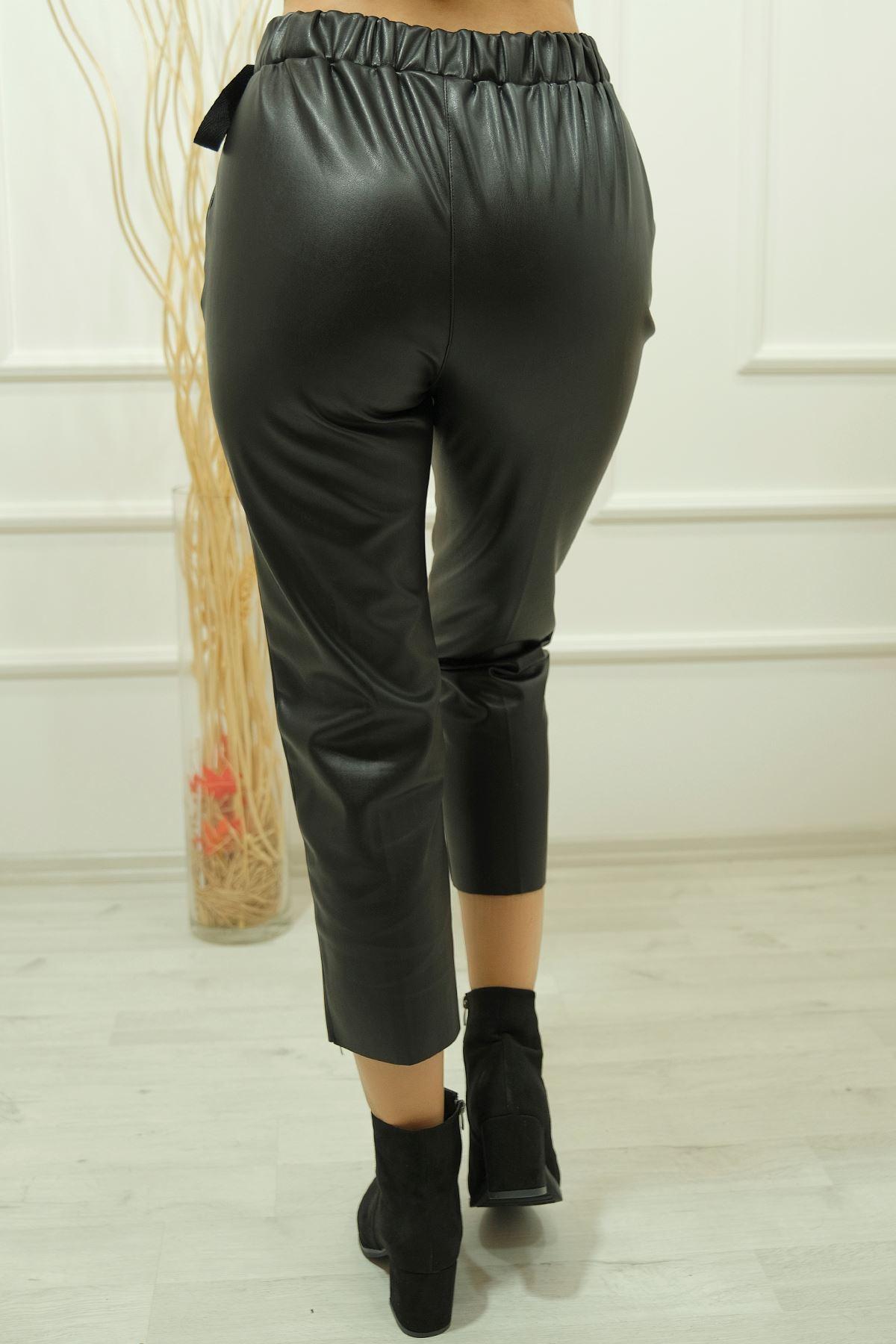 Yandan Bağlamalı Deri Pantolon Siyah - 50233.1314.