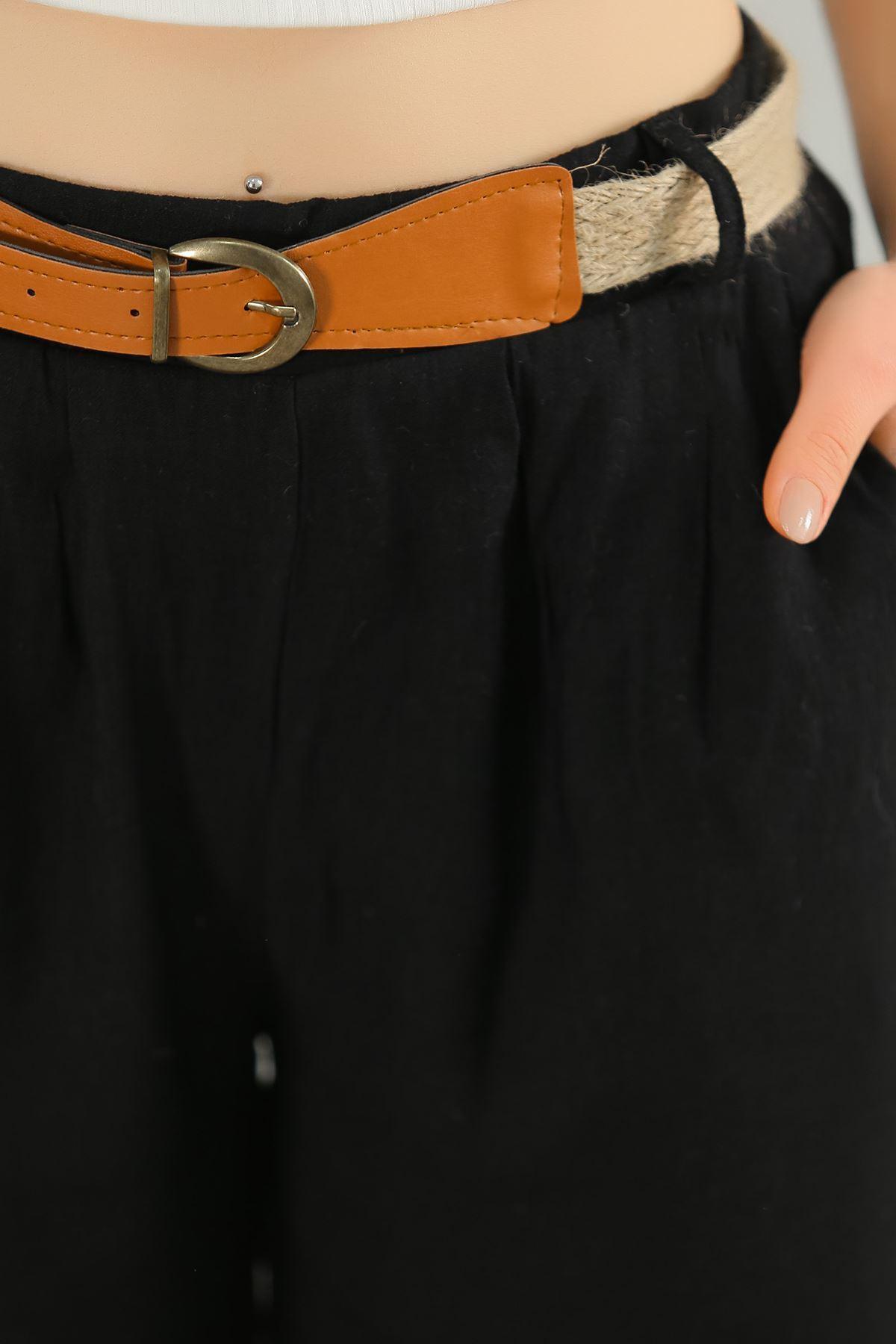 Hasır Kemerli Pileli Pantolon Siyah - 3074.222.