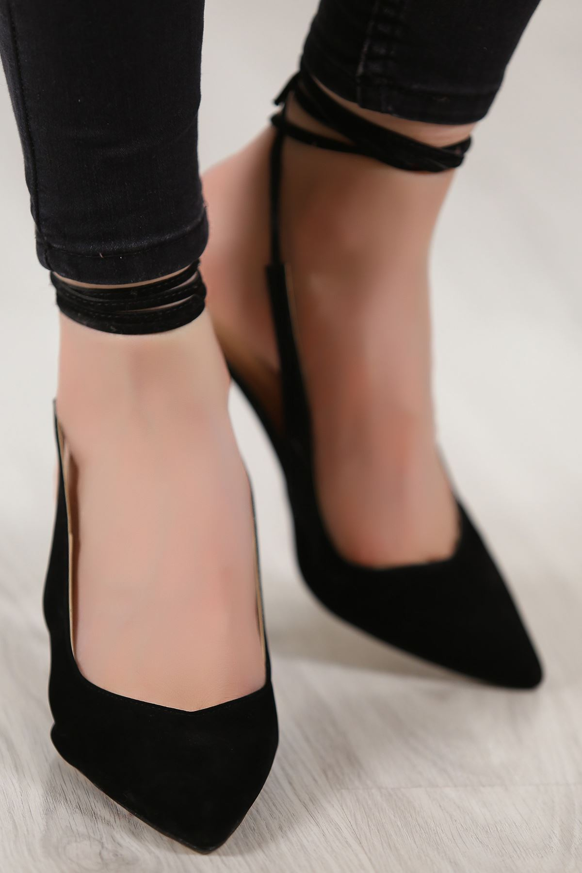 5cm Topuklu Ayakkabı Süetsiyah - 4867.264.