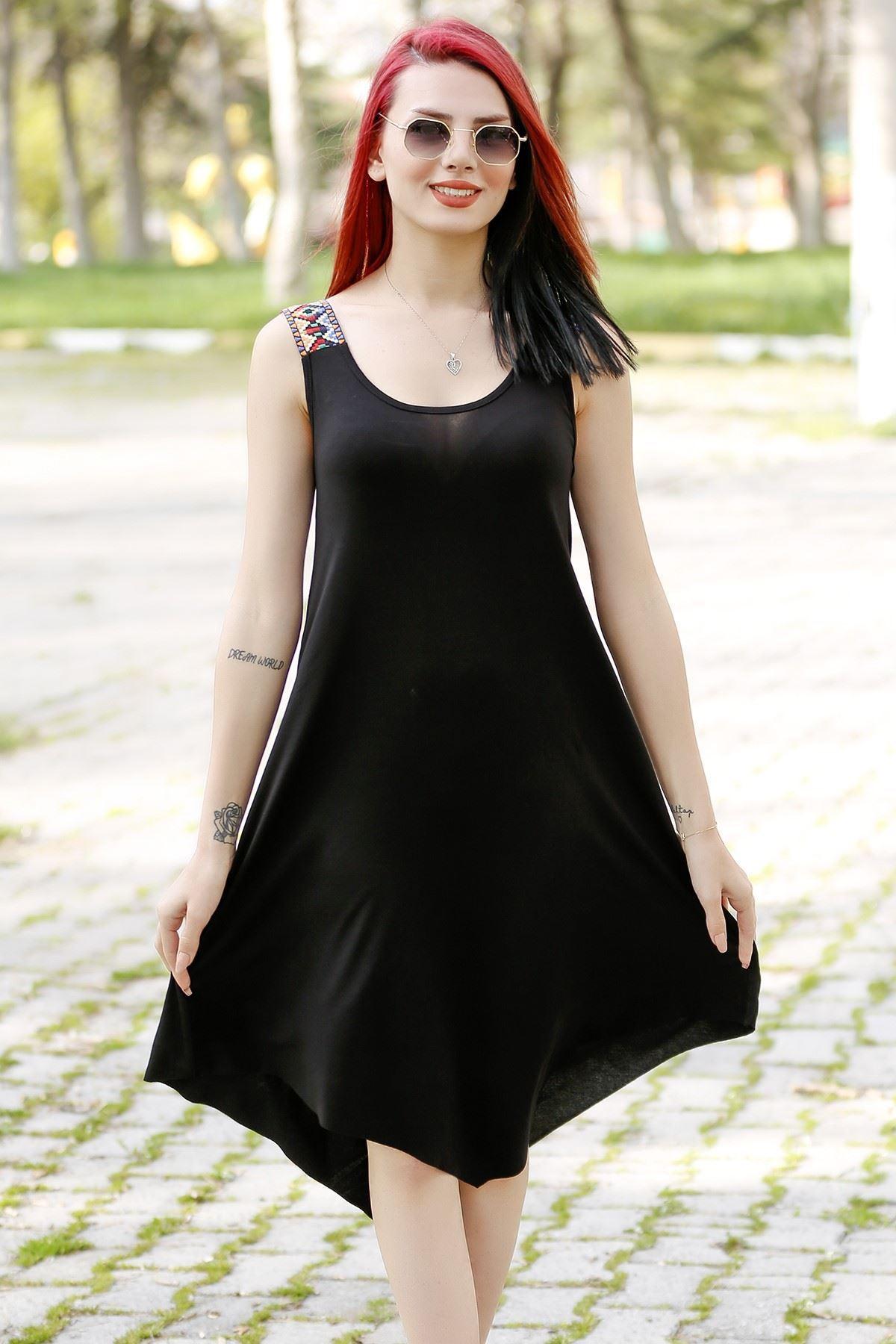 Omuzu Aksesuarlı Elbise Siyah - 1221.1095.