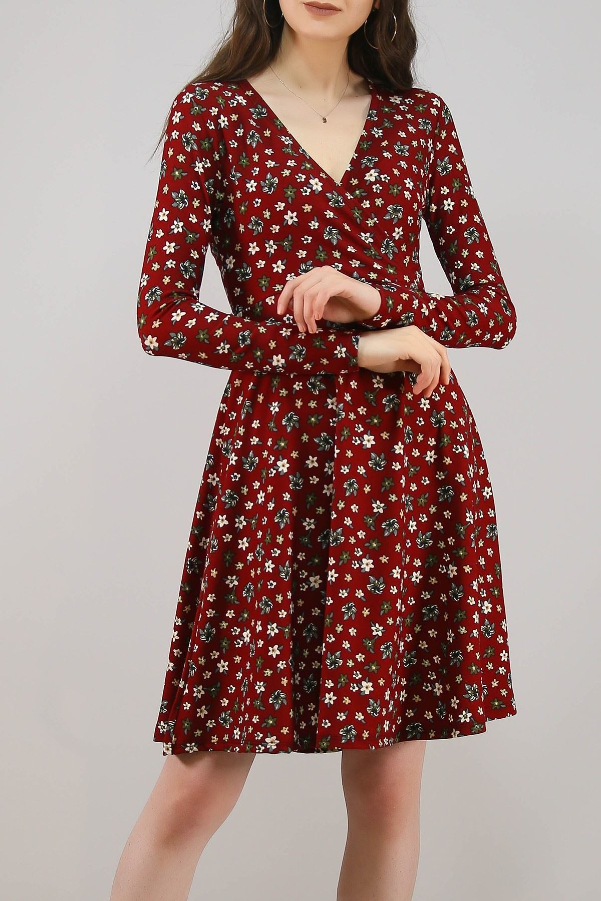 Desenli Elbise Bordo - 4986.716.