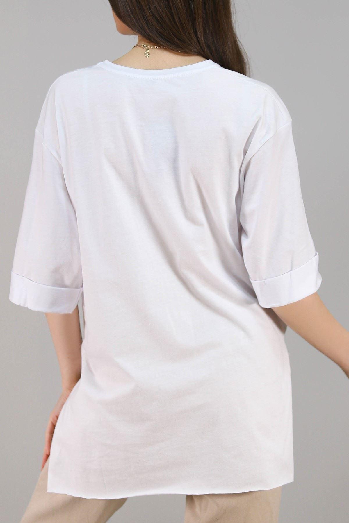 Baskılı Tişört Beyaz - 3660.222.