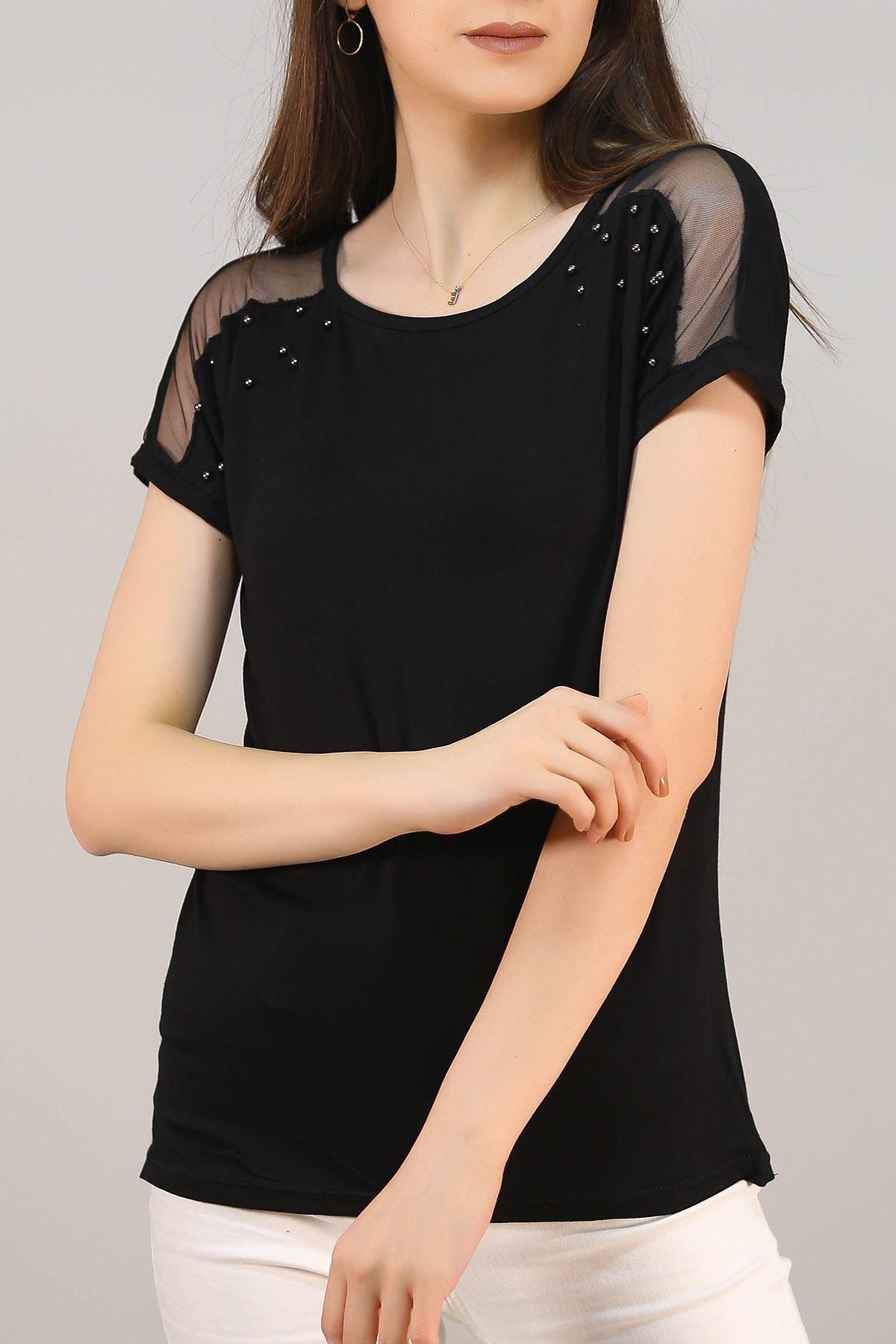 Tül Detaylı Tişört Siyah - 5049.139.