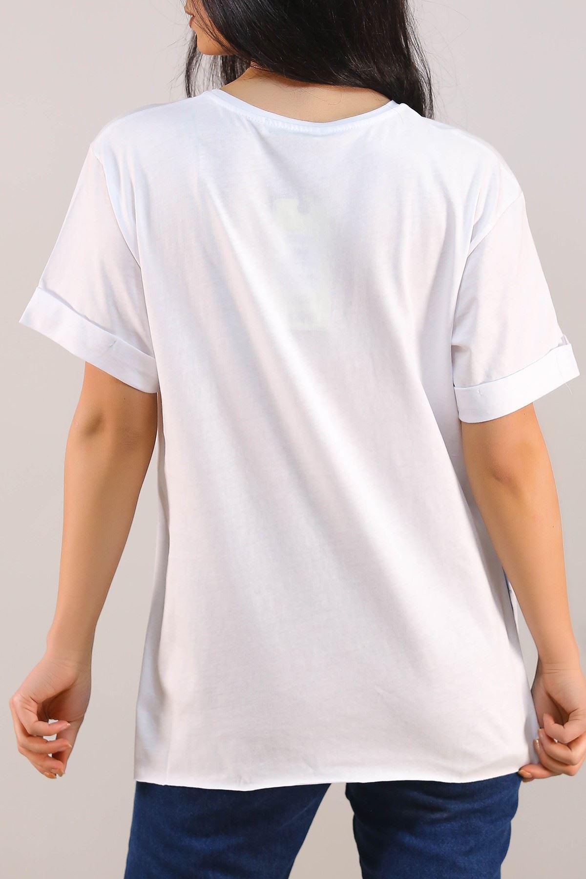 Baskılı Tişört Beyaz - 5079.275.