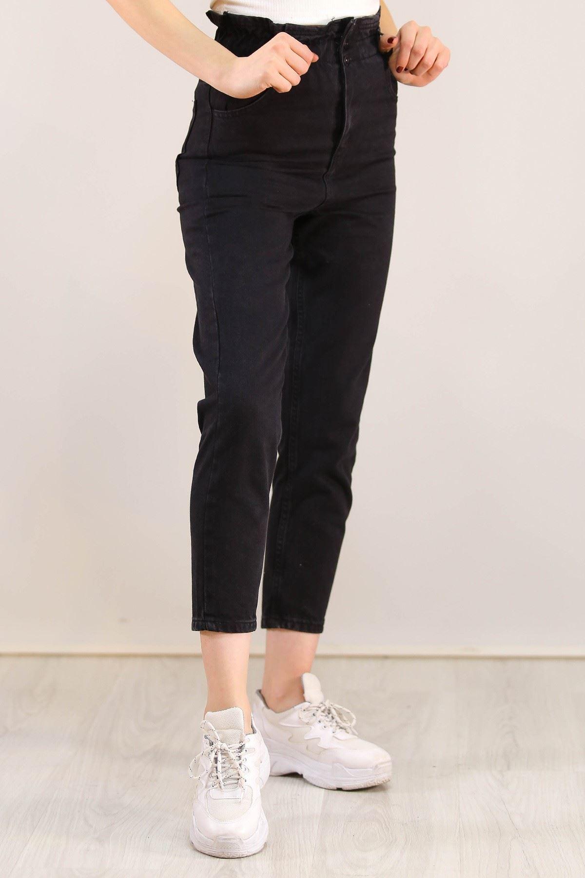 Beli Lastikli Kot Pantolon Siyah - 5092.925.