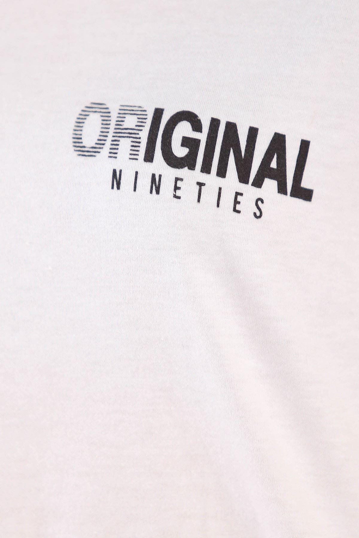 Yazılı Duble Kol Tişört Beyaz - 5157.336.