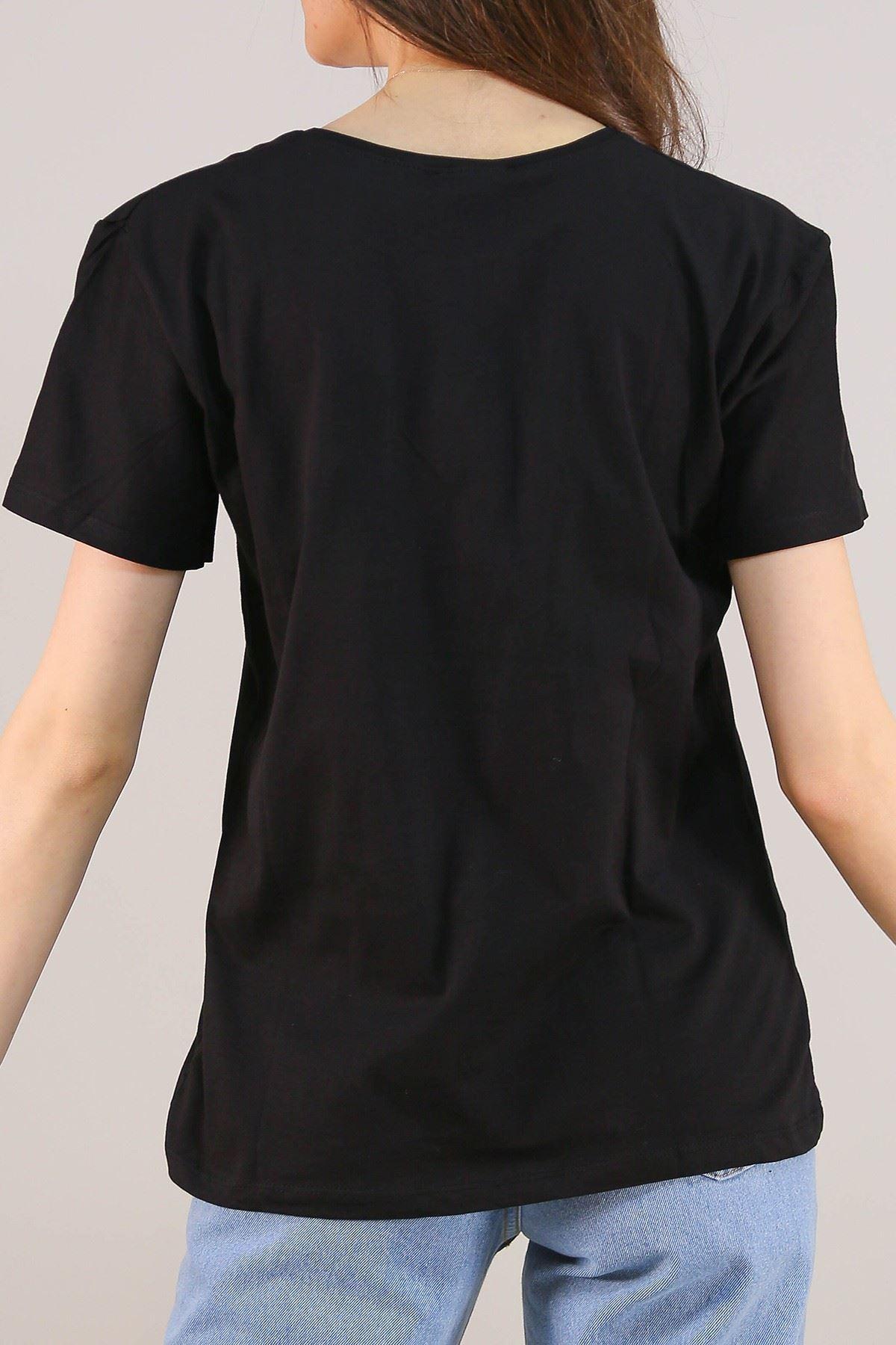 Nakışlı Tişört Siyah - 4997.336.