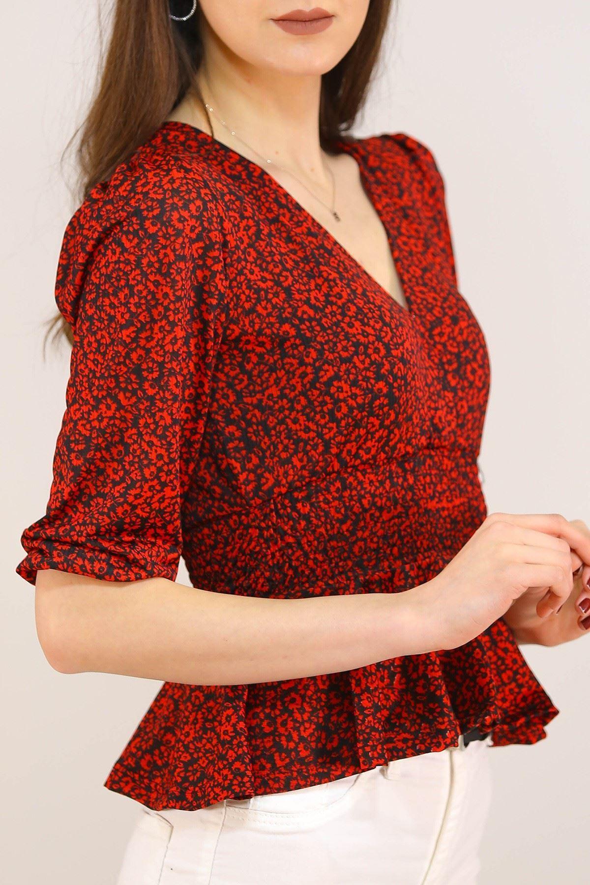 Kruvaze Bluz Kırmızıçiçekli - 5208.224.