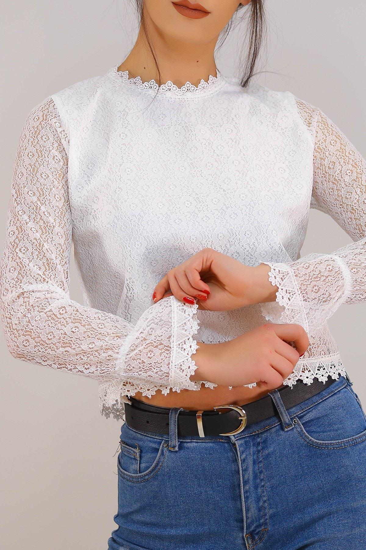 Dantelli Bluz Beyaz - 5210.224.