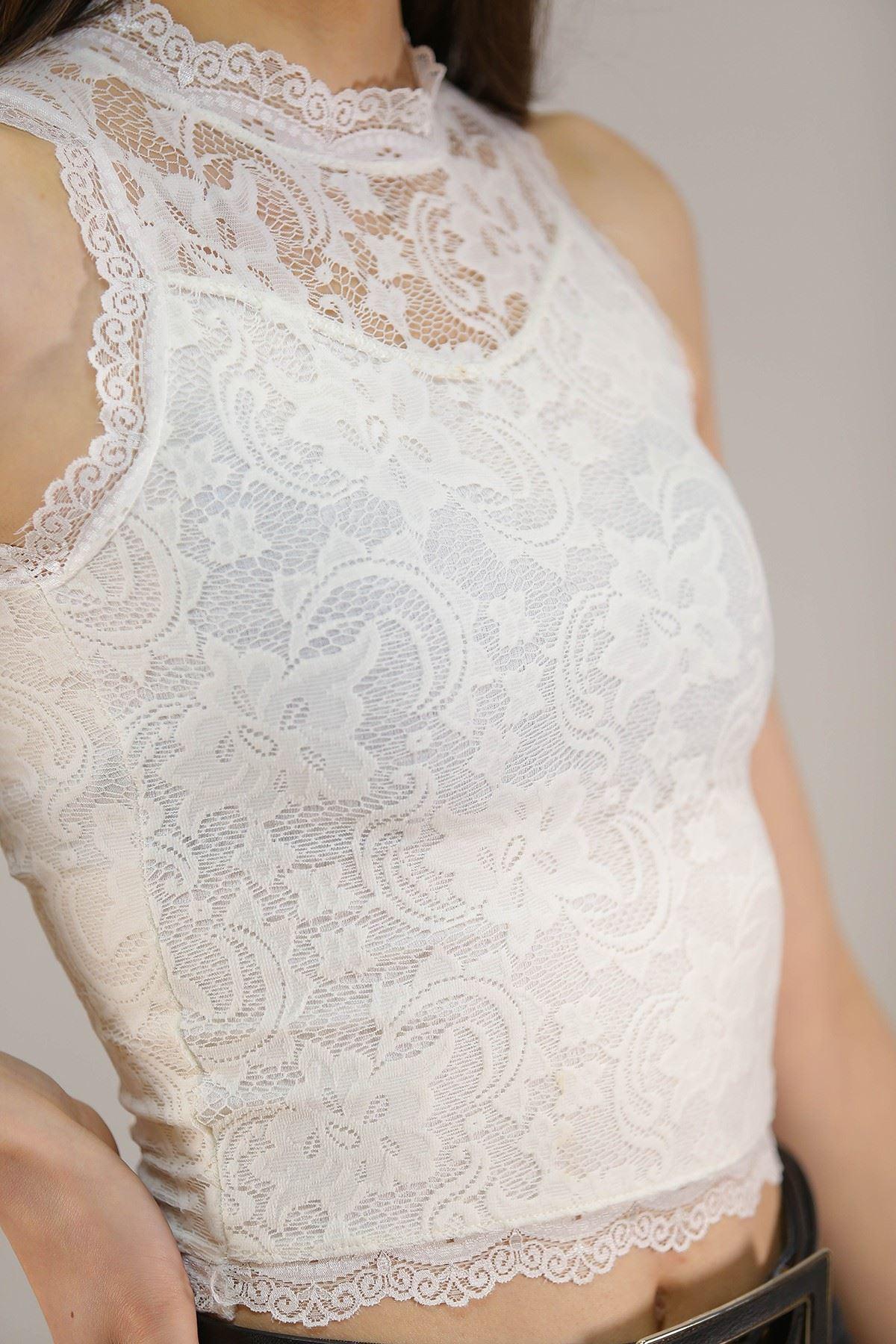 Dantelli Bluz Beyaz - 5244.316.