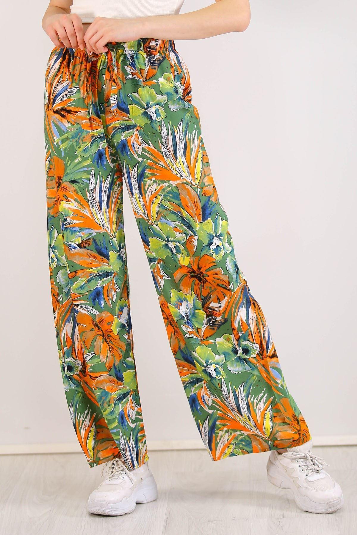 Desenli Bol Pantolon Yeşilçiçekli - 0753.128.