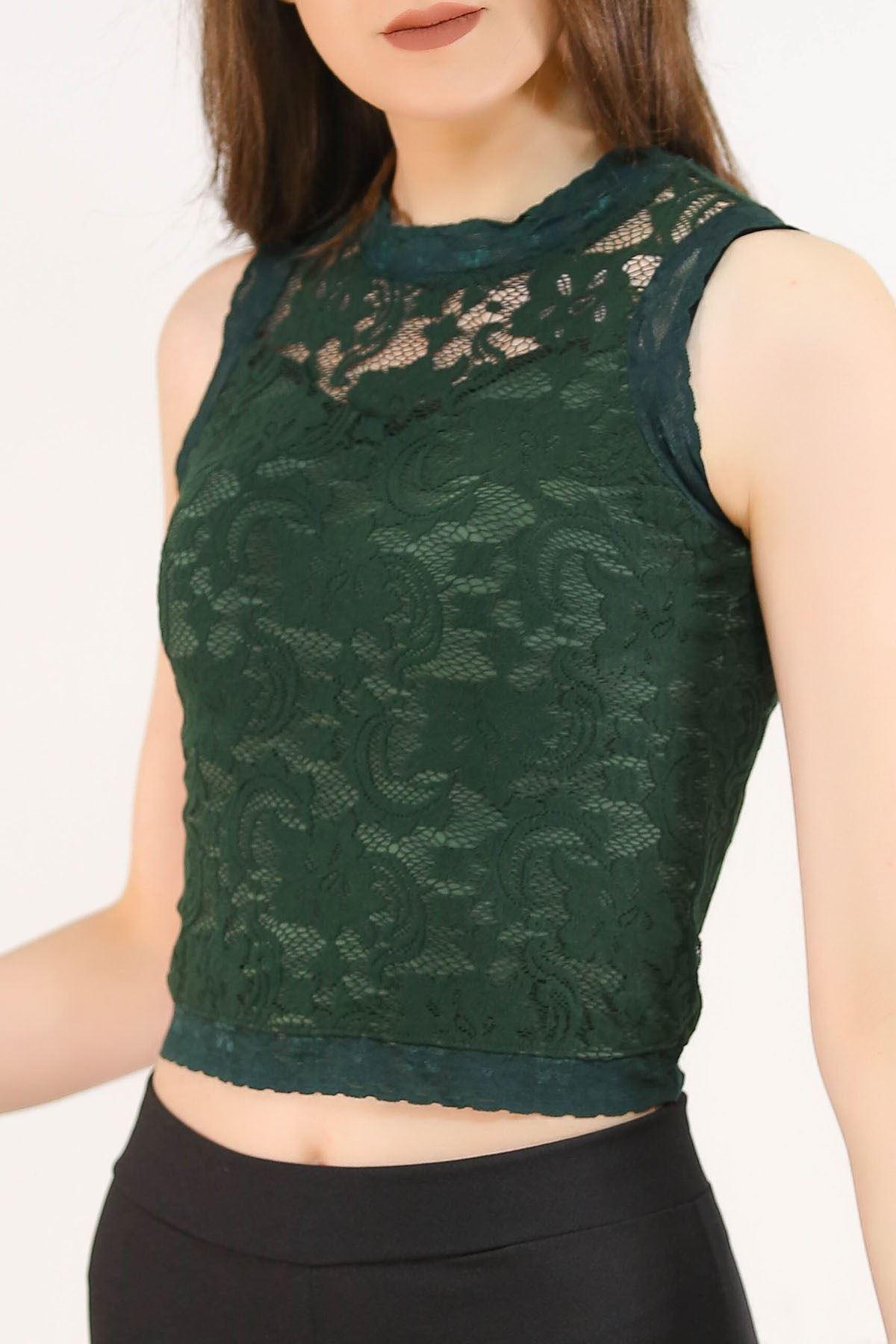 Dantelli Bluz Yeşil - 5244.316.