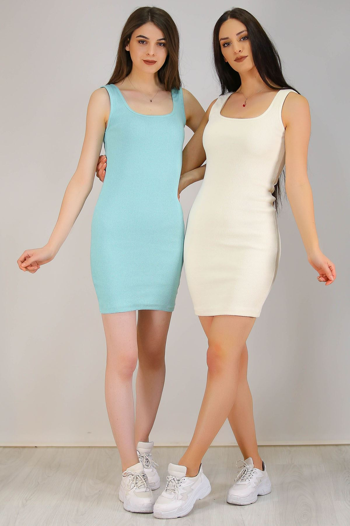 Kaşkorse Sıfır Kol Elbise Mint - 5188.316.