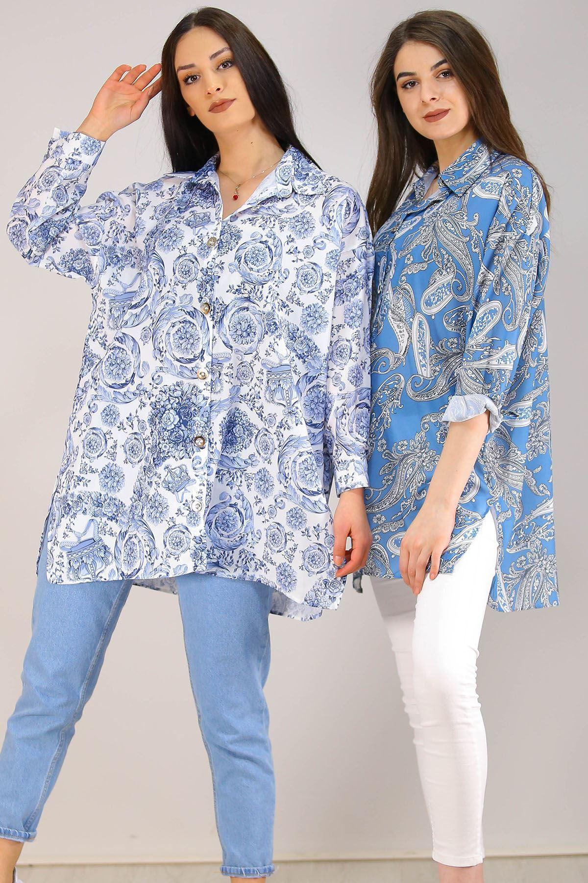 Baskılı Gömlek Mavi - 2732.1292.