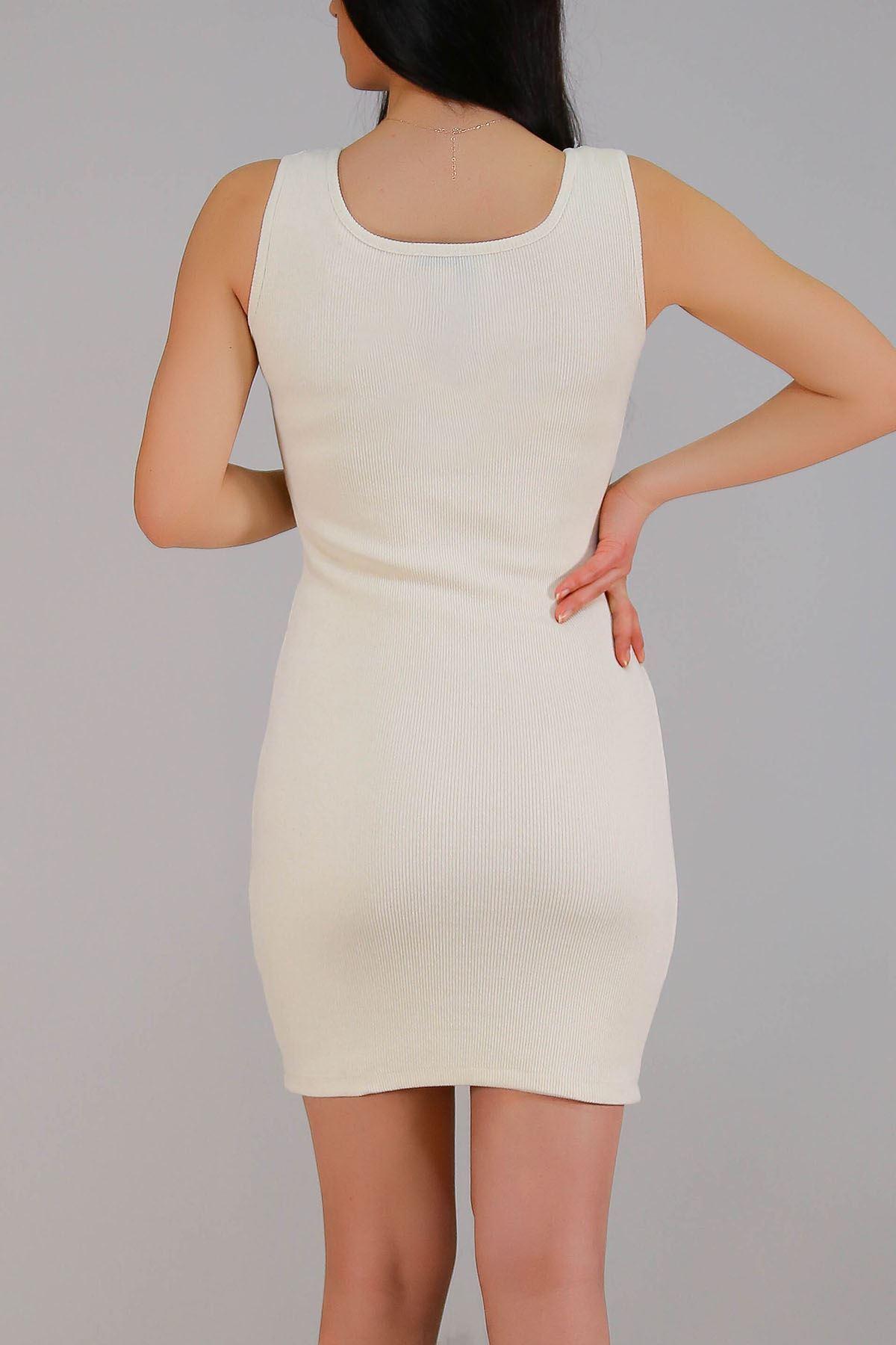 Kaşkorse Sıfır Kol Elbise Krem - 5188.316.