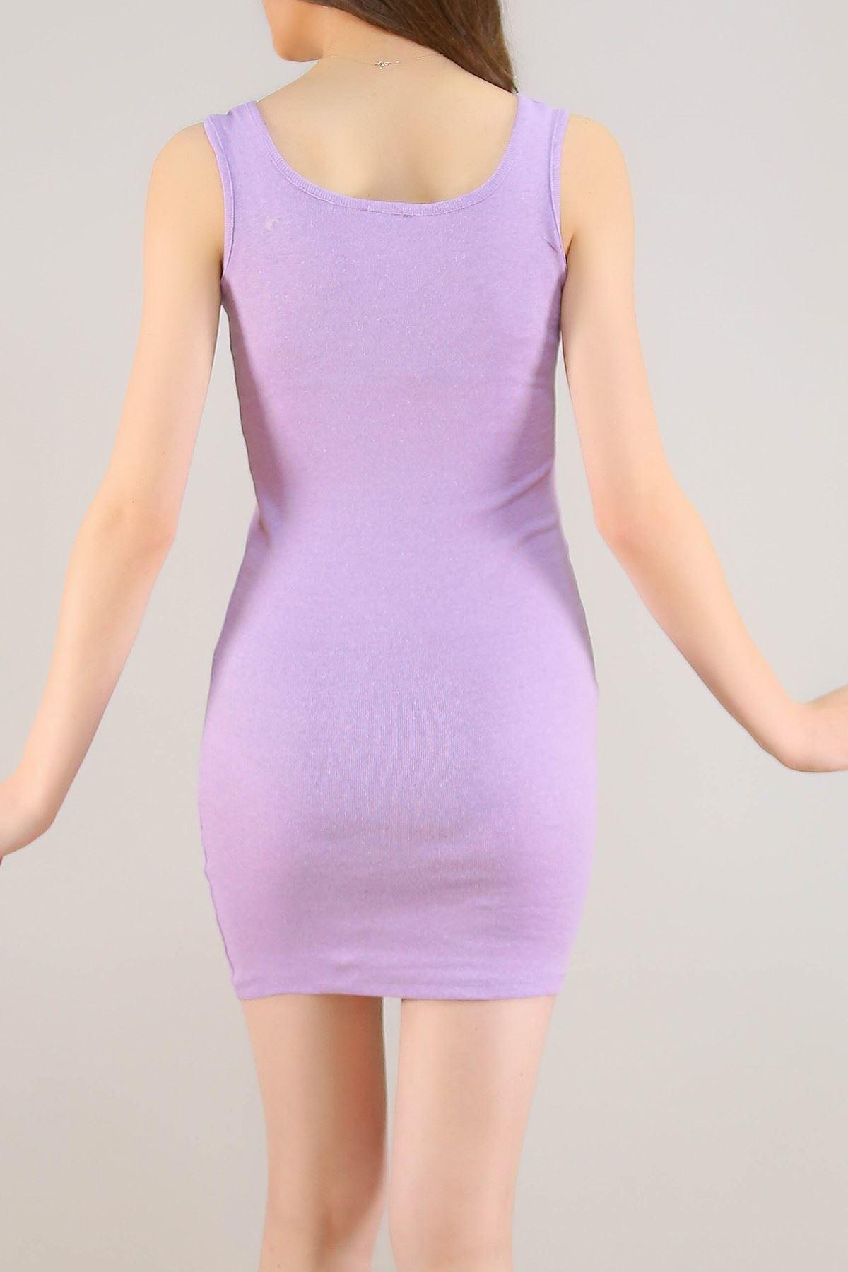 Kaşkorse Sıfır Kol Elbise Lila - 5188.316.