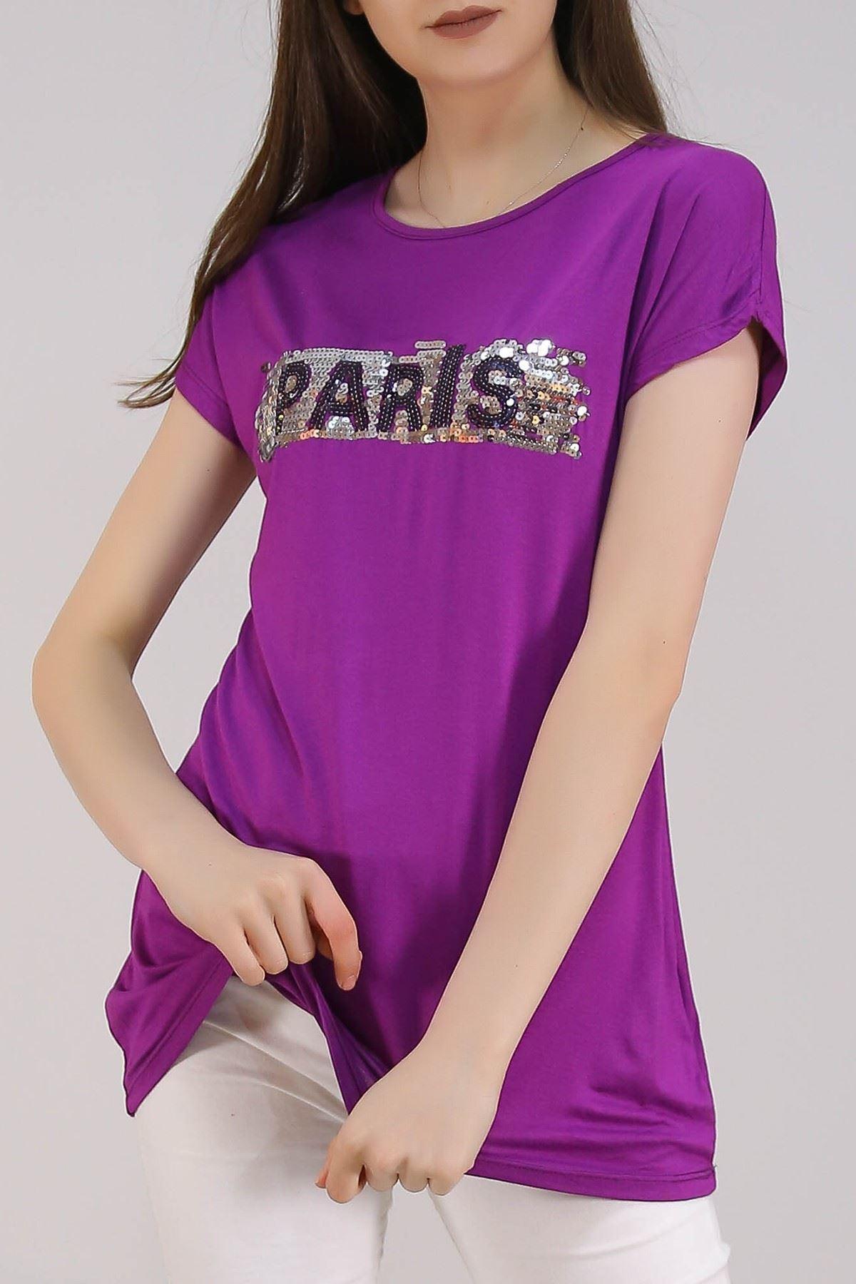 Paris Baskı Tişört Mor - 5051.139.