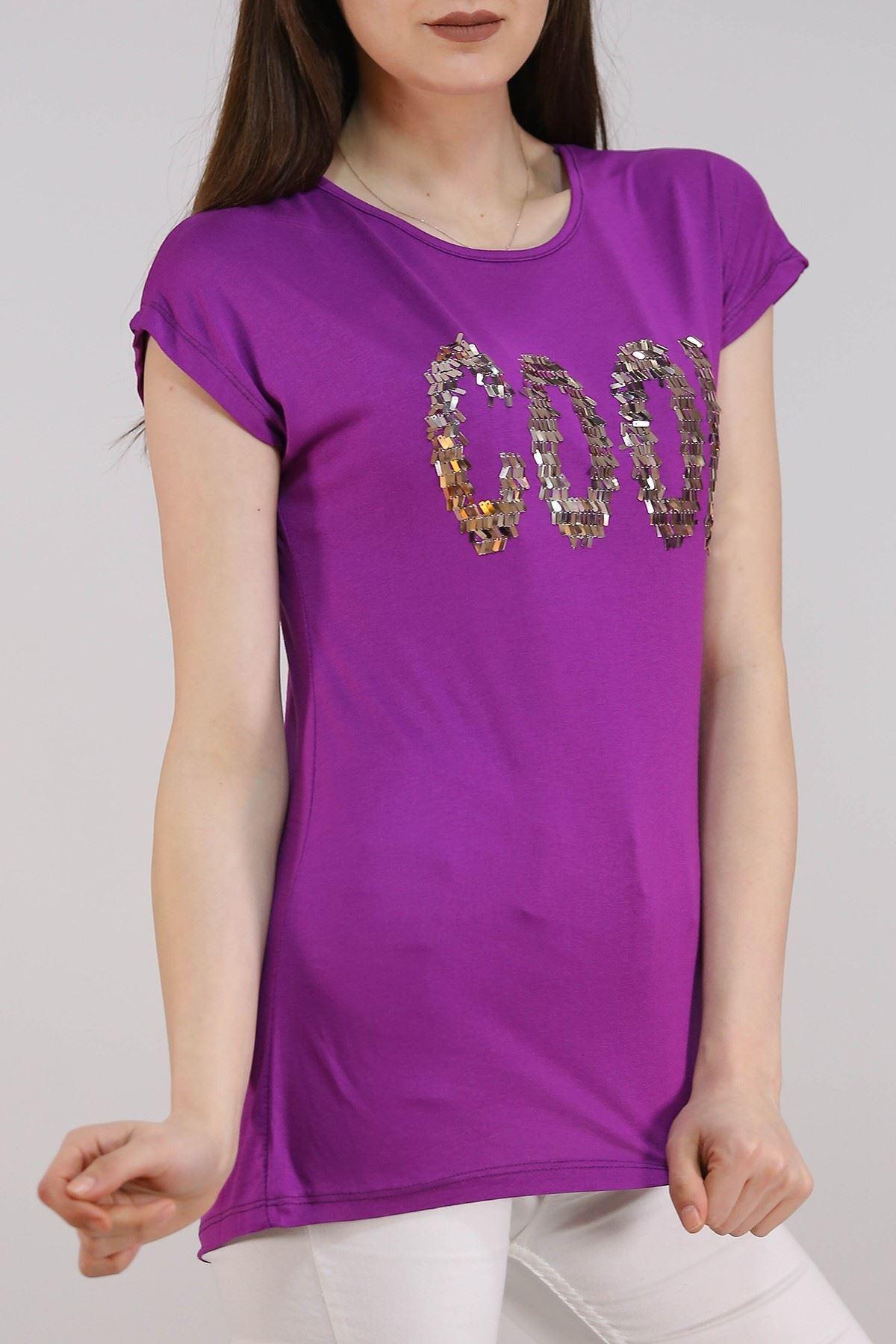 Cool Baskılı Tişört Mor - 5050.139.