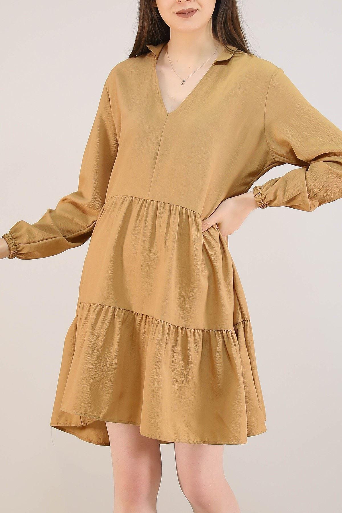 Kısa Krep Elbise Sütlükahve - 5273.701.