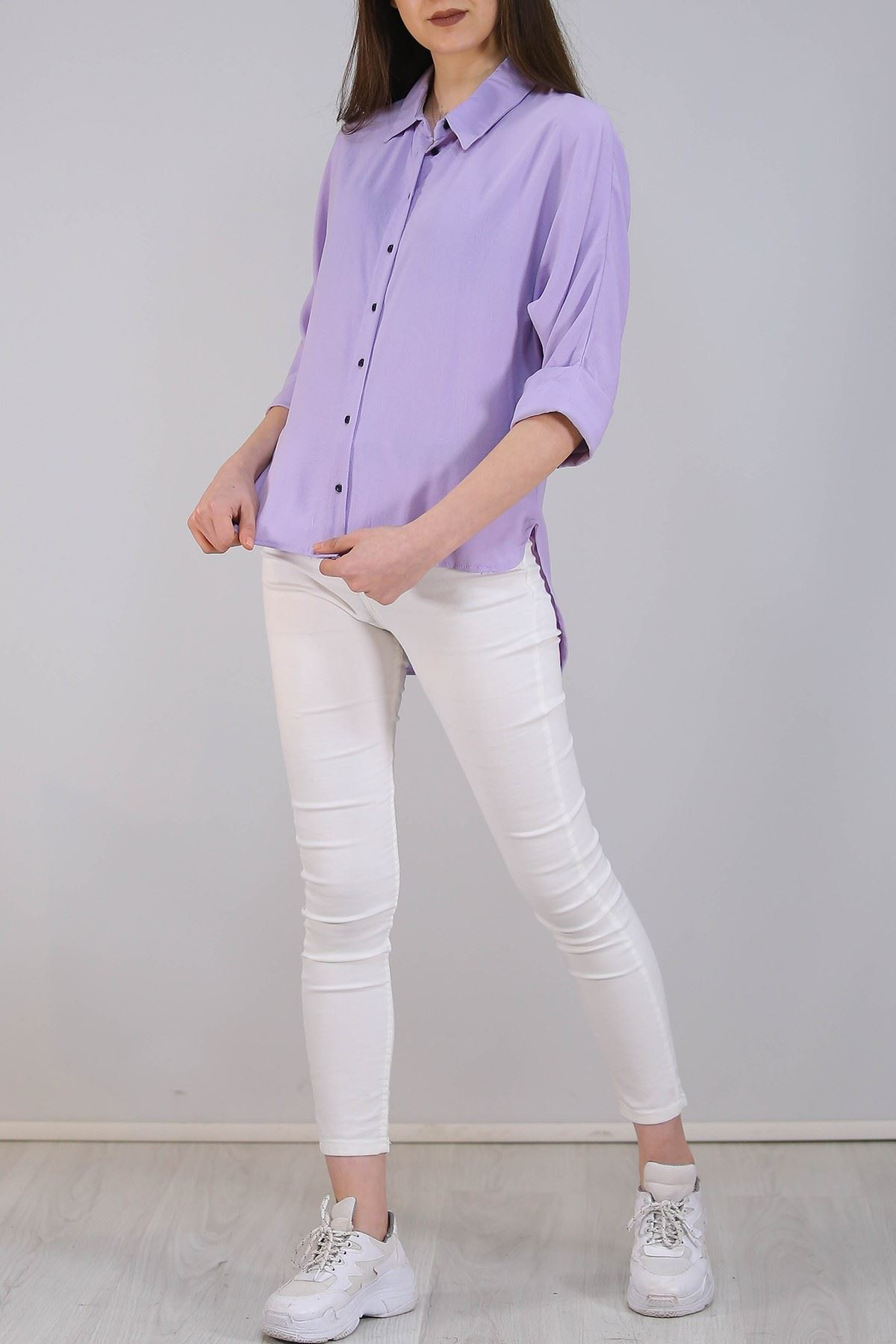 Salaş Kesim Kadın Gömlek Lila - 3339.222.