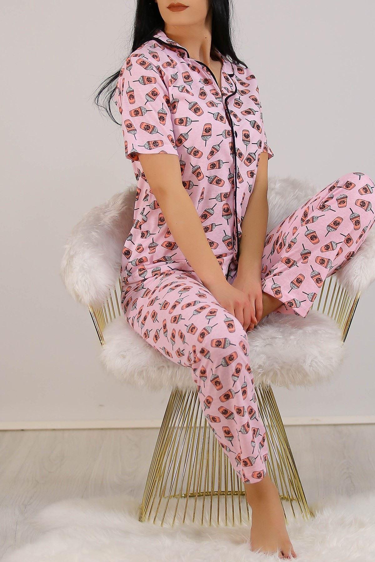 Düğmeli Pijama Takımı Pembedesenli - 4782.102.