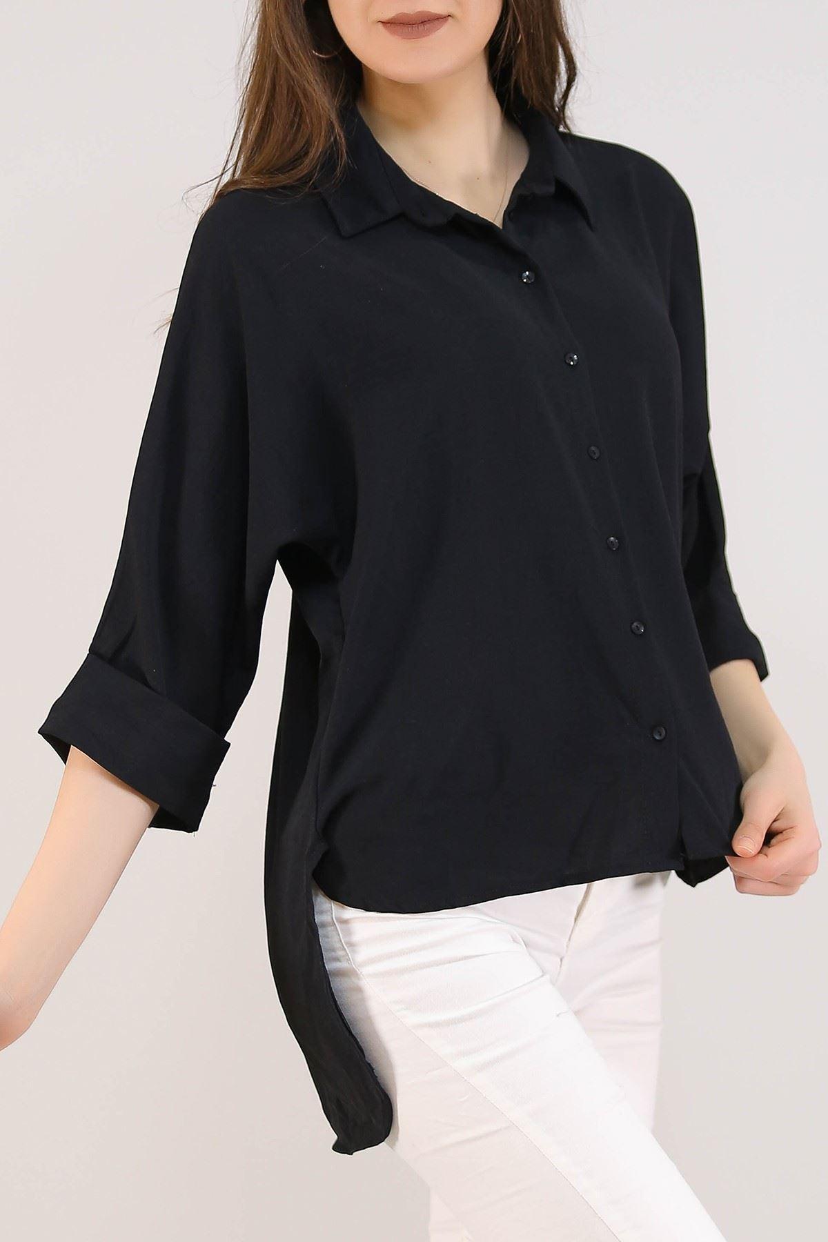 Salaş Kesim Kadın Gömlek Siyah - 3339.222.