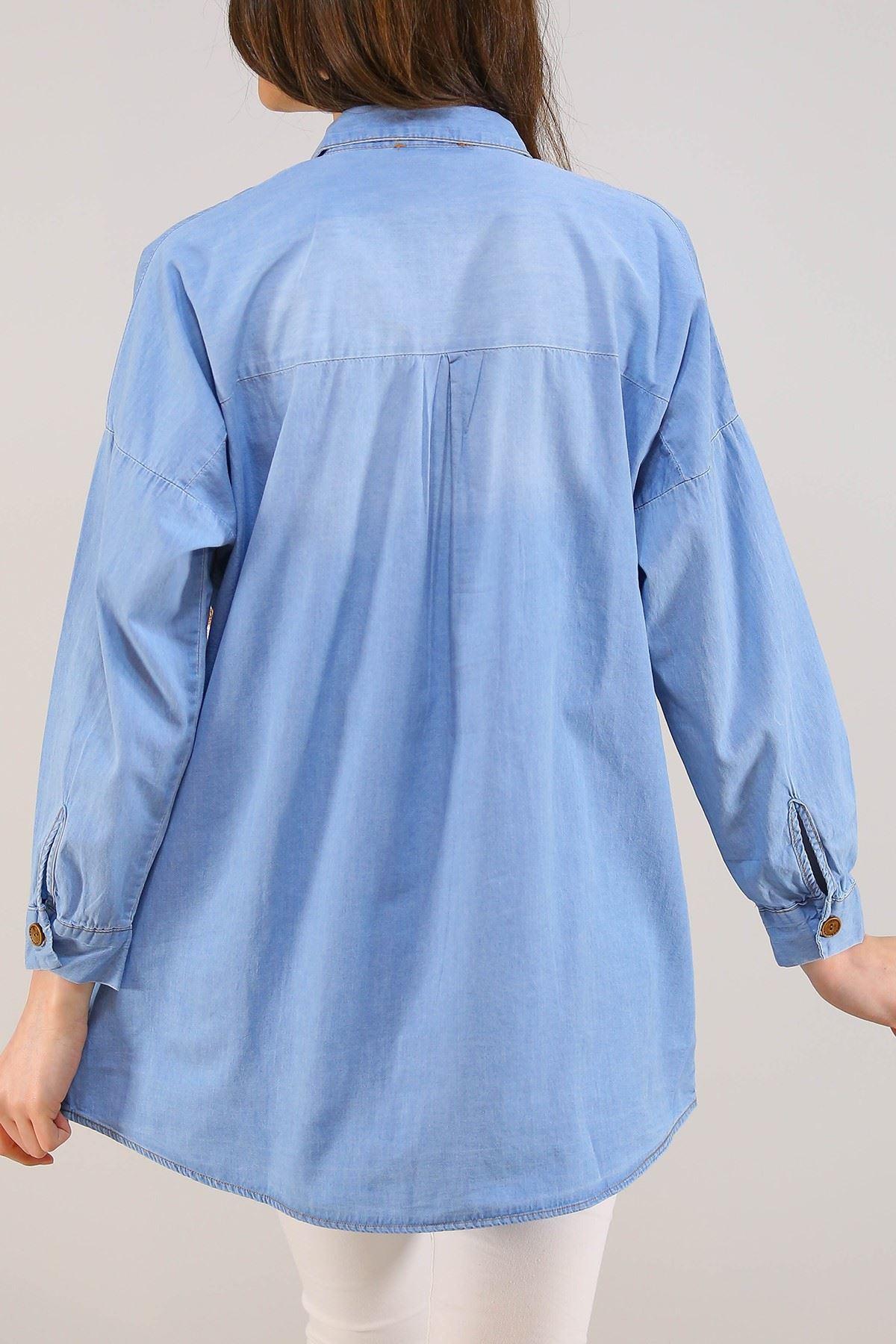 Ayıcıklı Kadın Kot Gömlek Açıkmavi - 8069.1352.