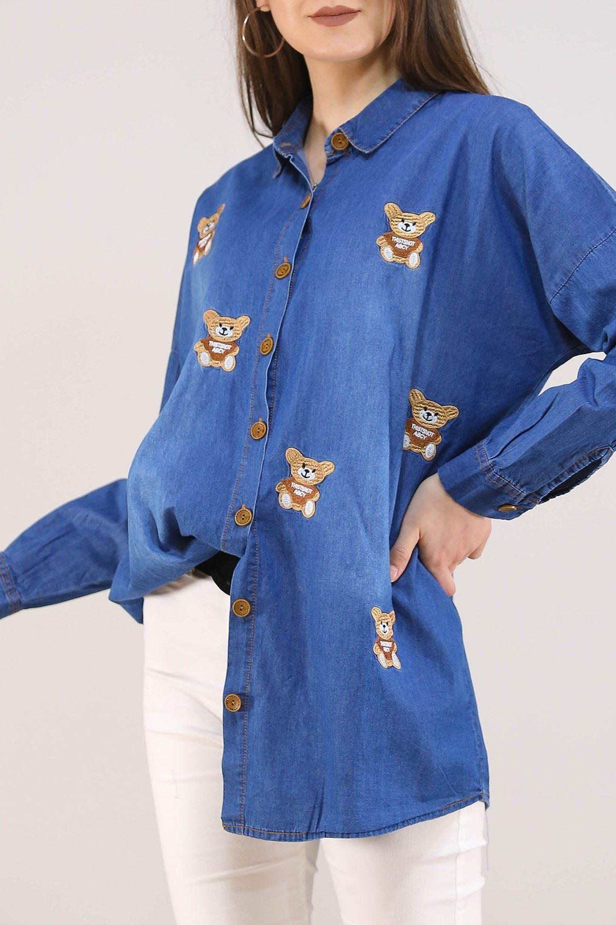 Ayıcıklı Kadın Kot Gömlek Lacivert - 8069.1352.