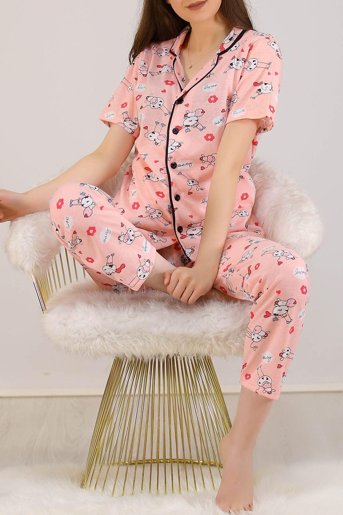 Düğmeli Pijama Takımı Pudradesenli - 4782.102.