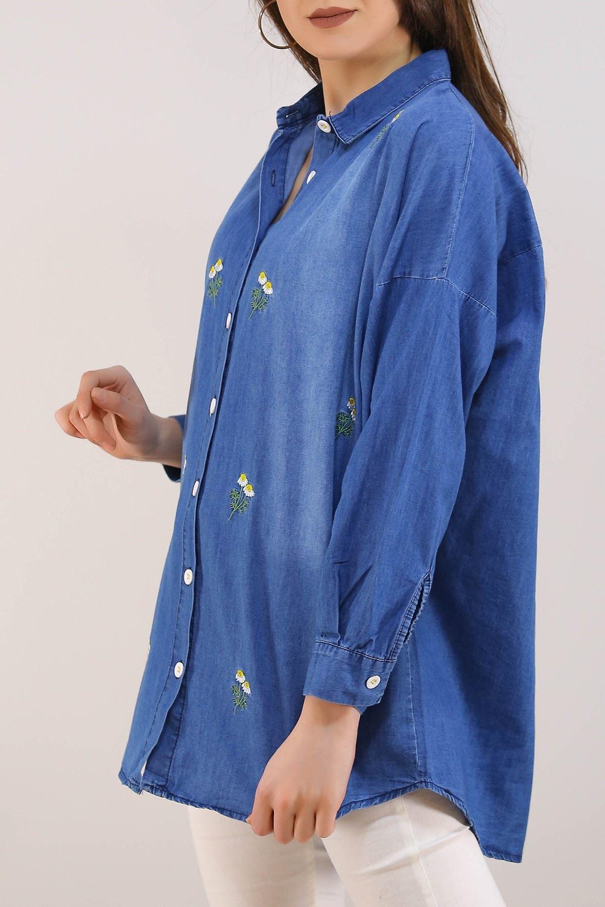 Nakışlı Kadın Kot Gömlek Lacivert - 8057.1352.