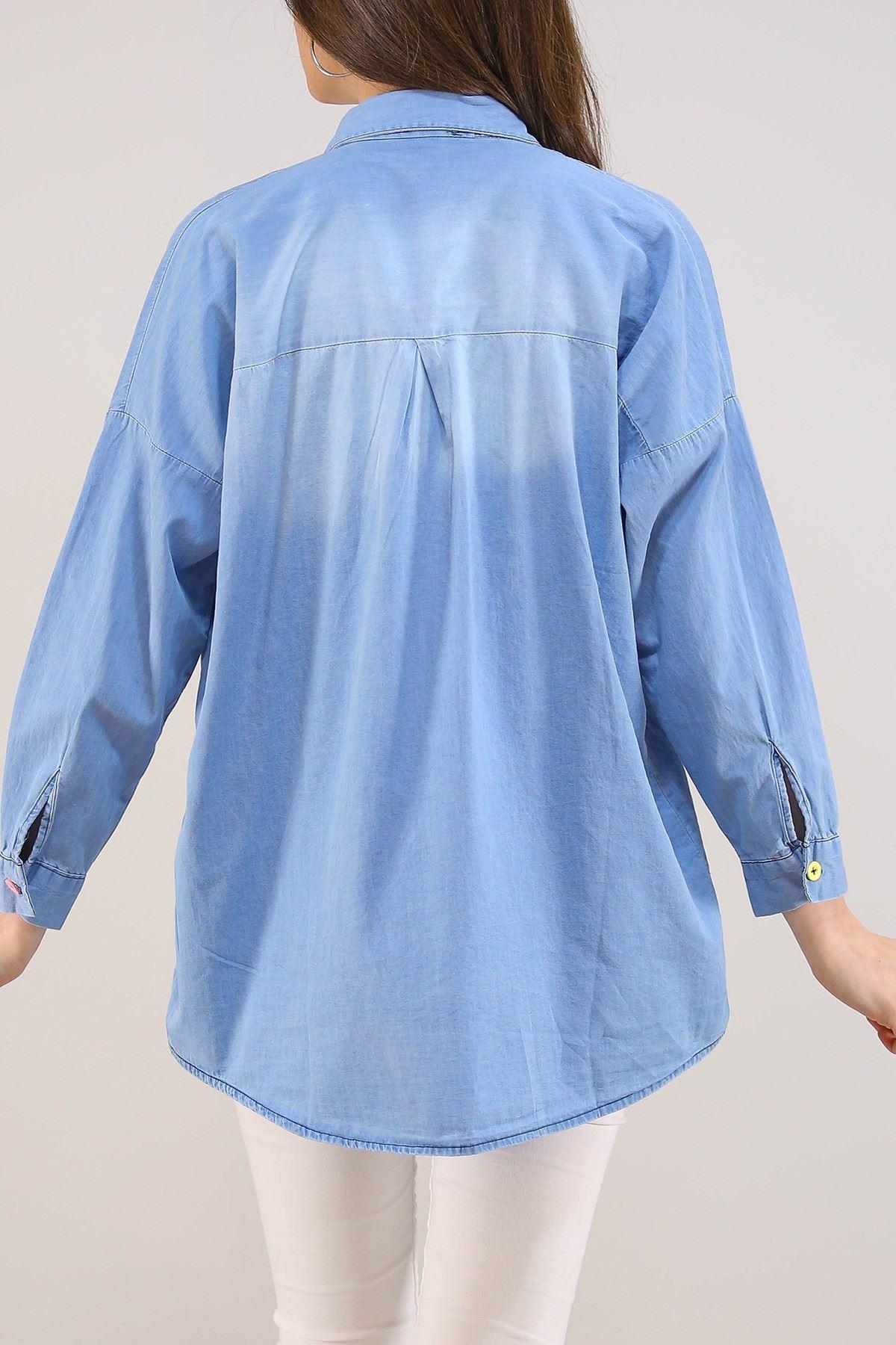 Kız Bebekli Kadın Kot Gömlek Açıkmavi - 8054.1352.