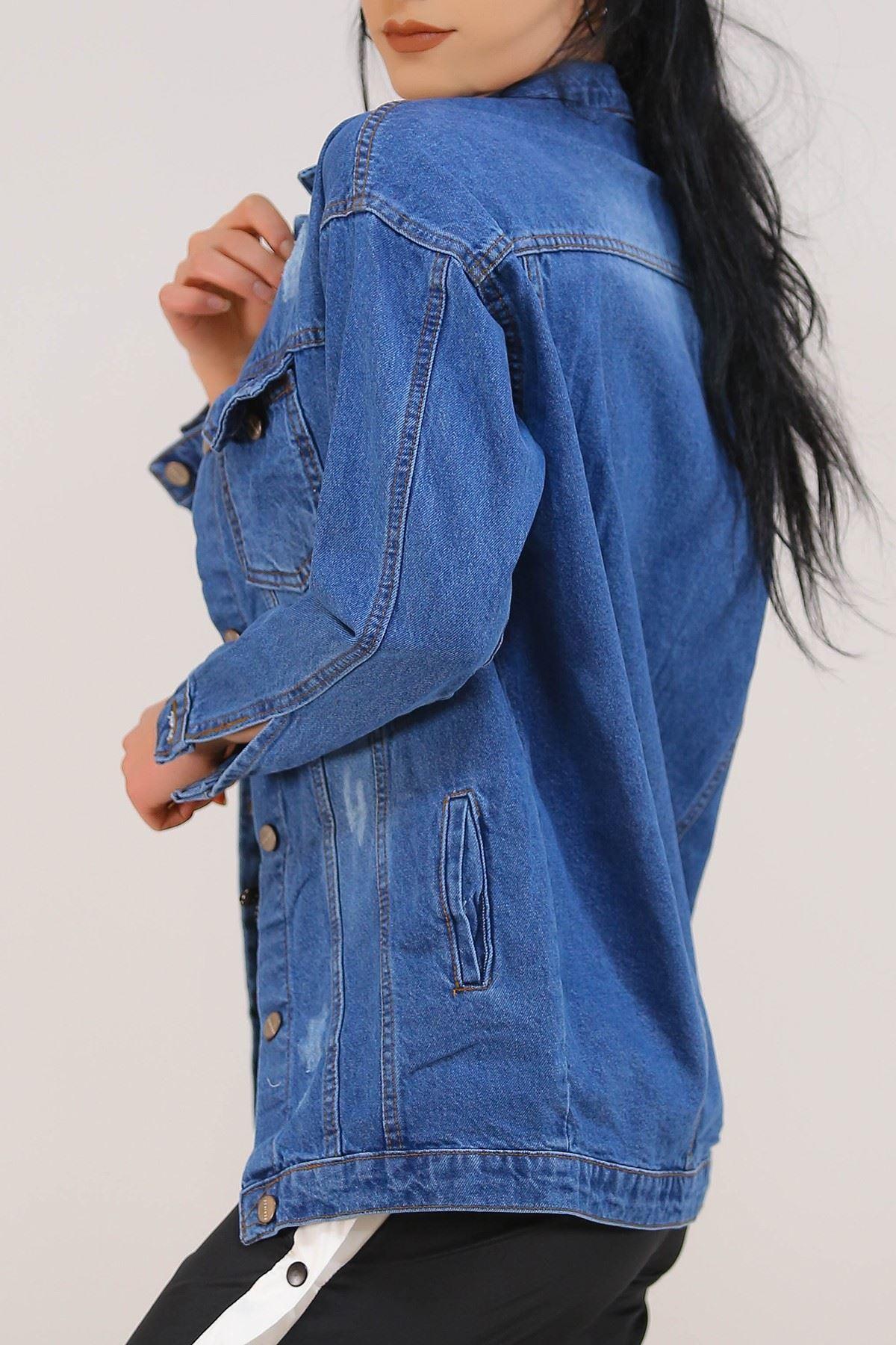 Yırtıklı Boyfrend Kot Ceket Mavi - 0833.925.