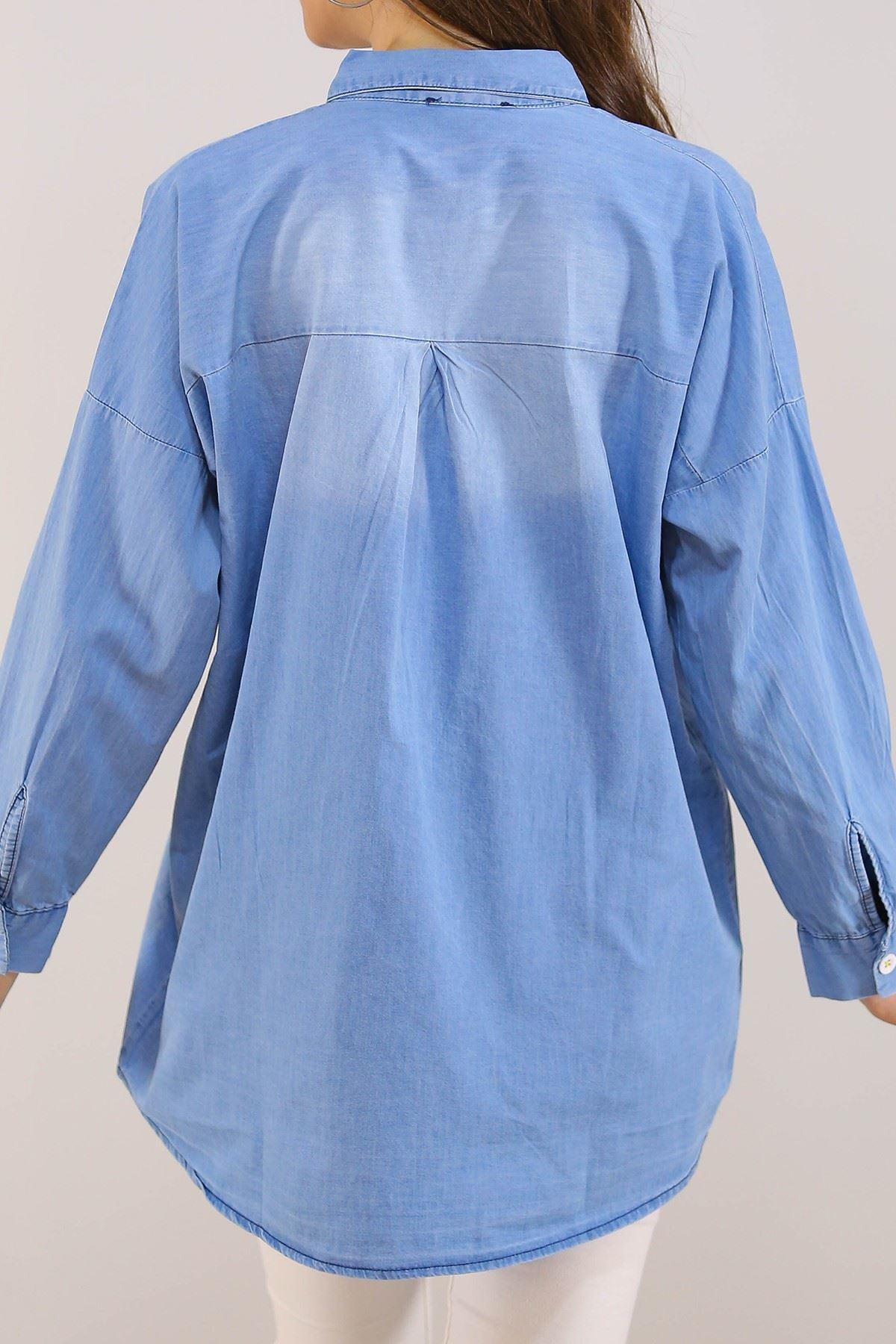 Nakışlı Kadın Kot Gömlek Açıkmavi - 8057.1352.