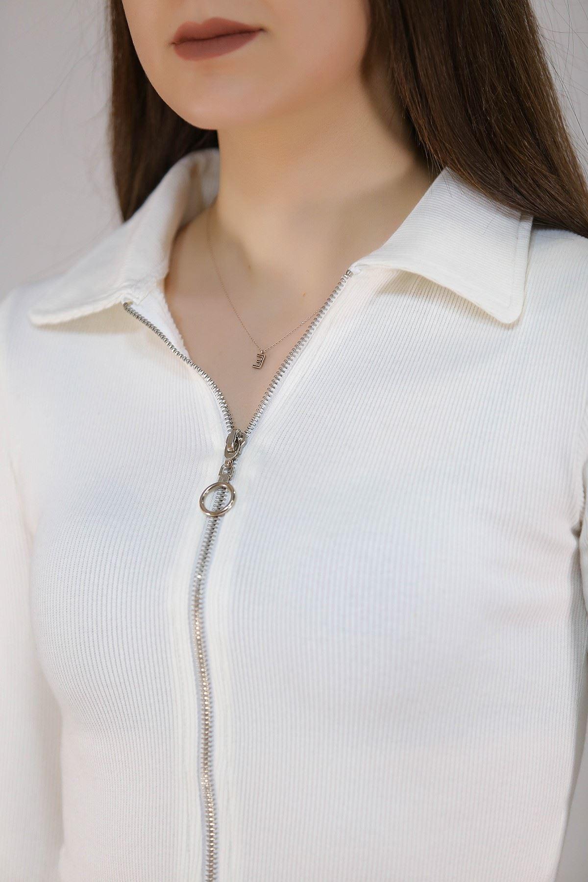 Fermuarlı Bluz Beyaz - 2657.994.