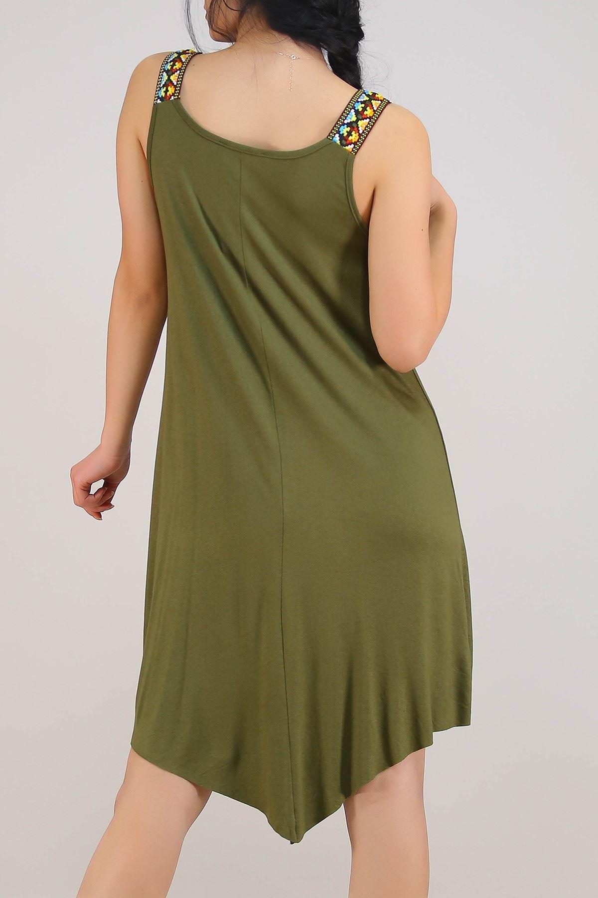 Omuzu Aksesuarlı Elbise Haki - 1221.1095.