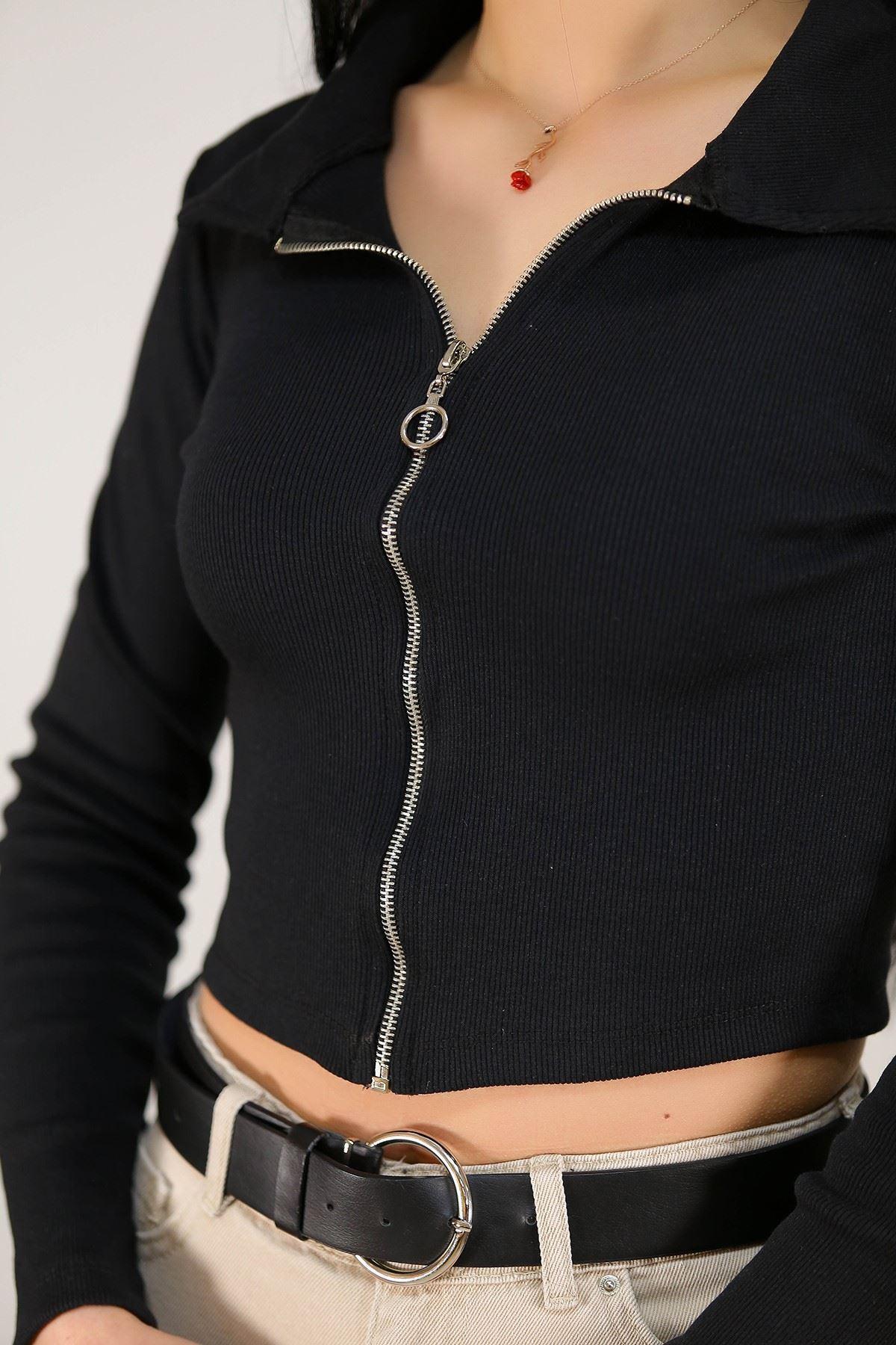 Fermuarlı Bluz Siyah - 2657.994.
