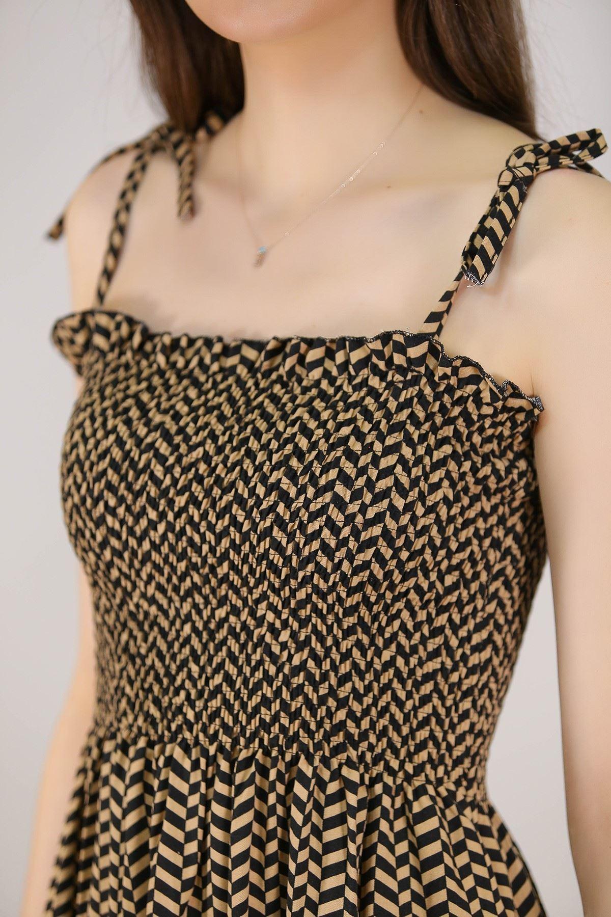 İp Askılı Dokuma Elbise Siyahvizon - 5285.1350.