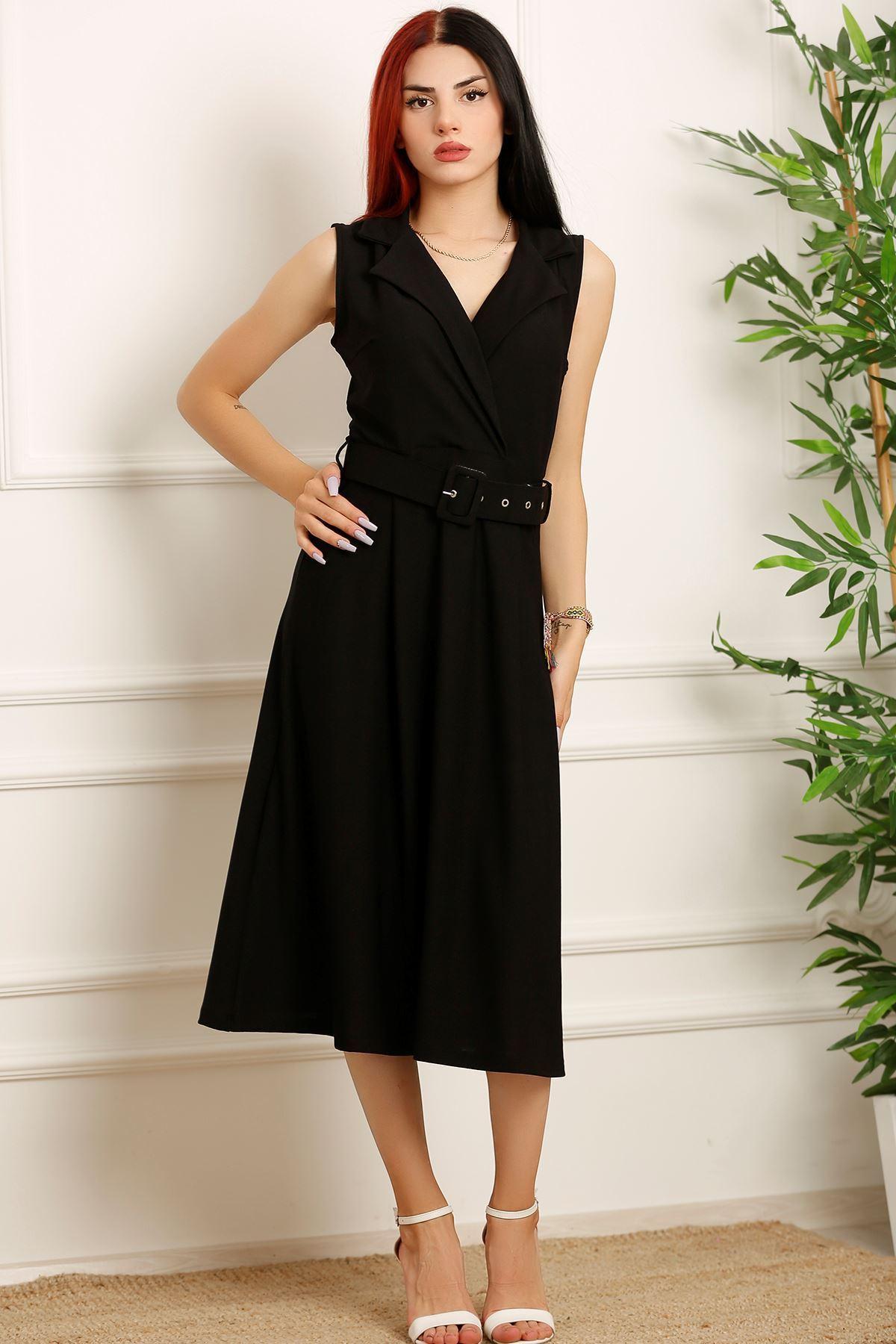 Kemerli Klasik Yaka Elbise Siyah - 2508.994.