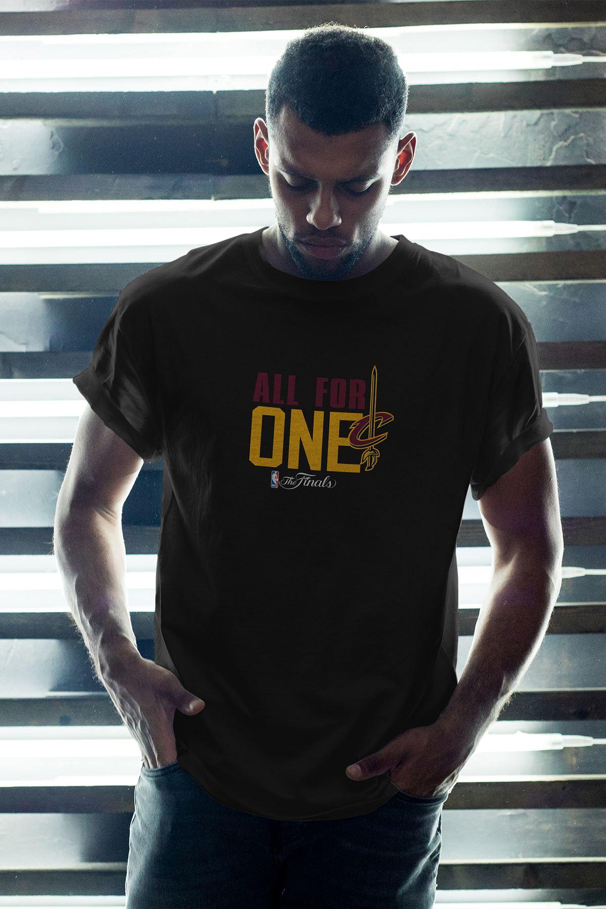 All For One Siyah Erkek Oversize Tshirt - Tişört