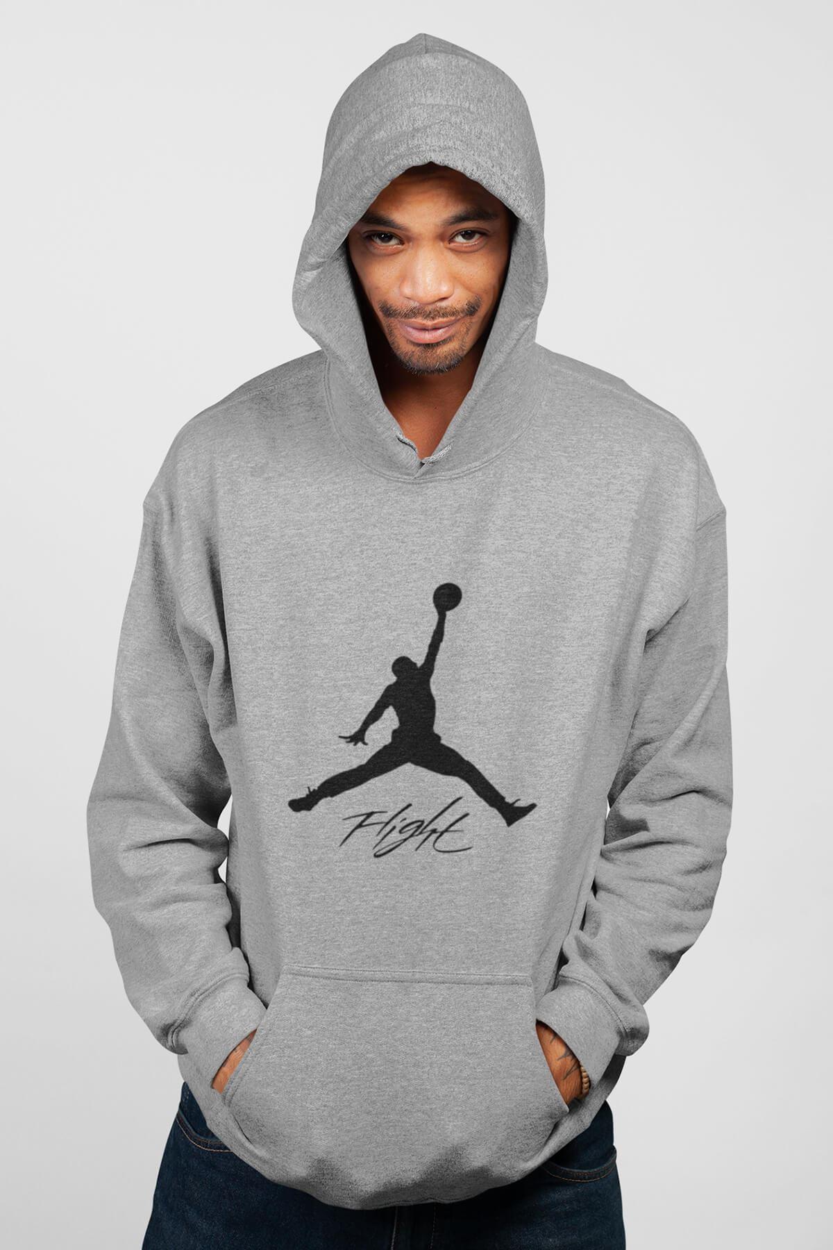 Basketbol 106 Gri Erkek Kapşonlu Sweatshirt - Hoodie
