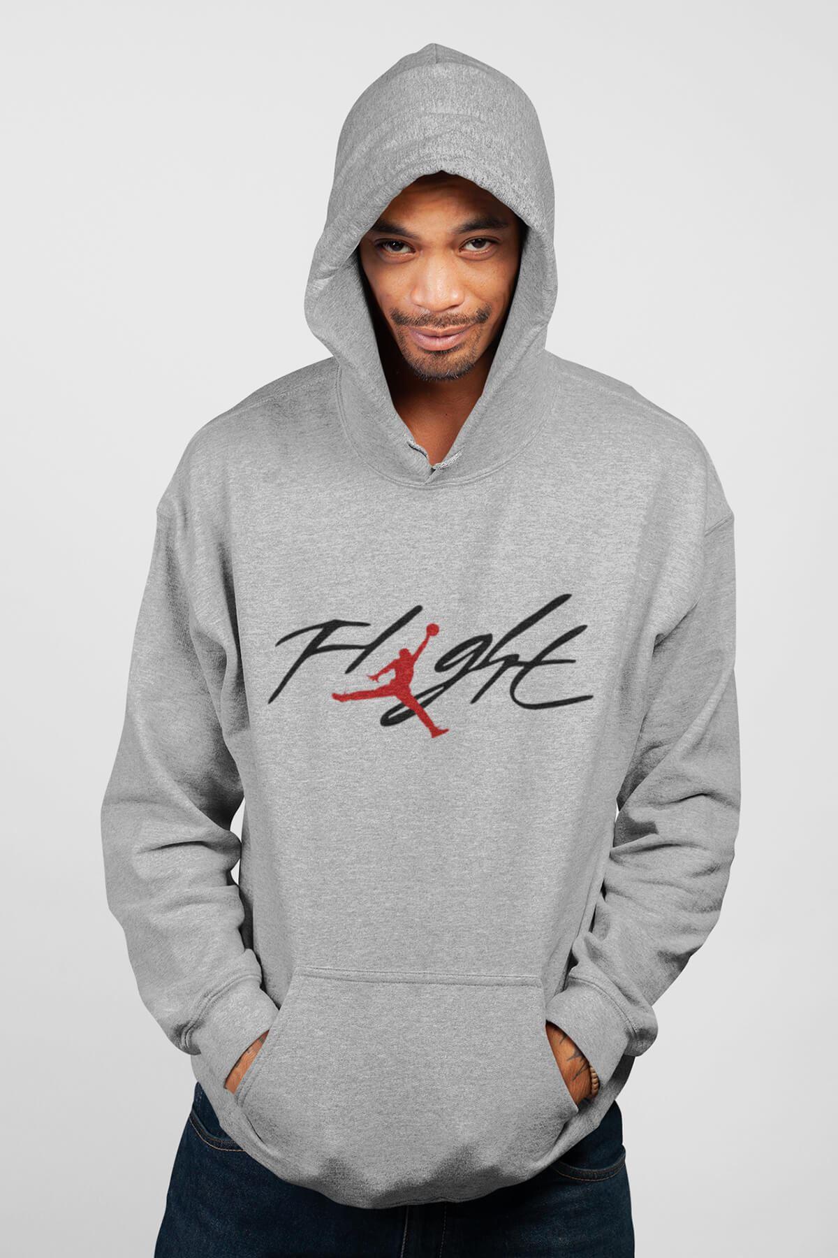 Basketbol Flight Gri Erkek Kapşonlu Sweatshirt - Hoodie