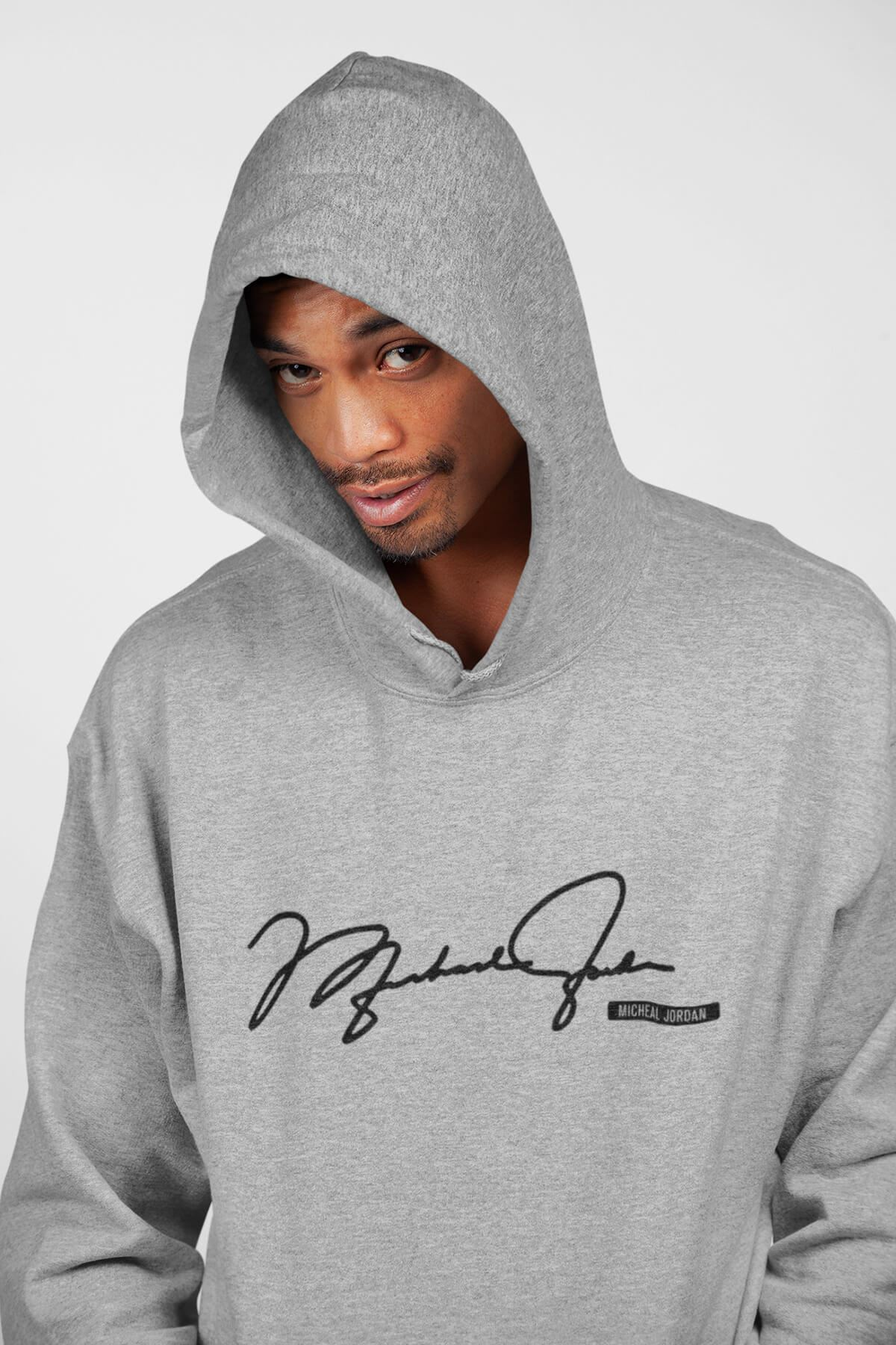 Basketbol İmza Gri Erkek Kapşonlu Sweatshirt - Hoodie