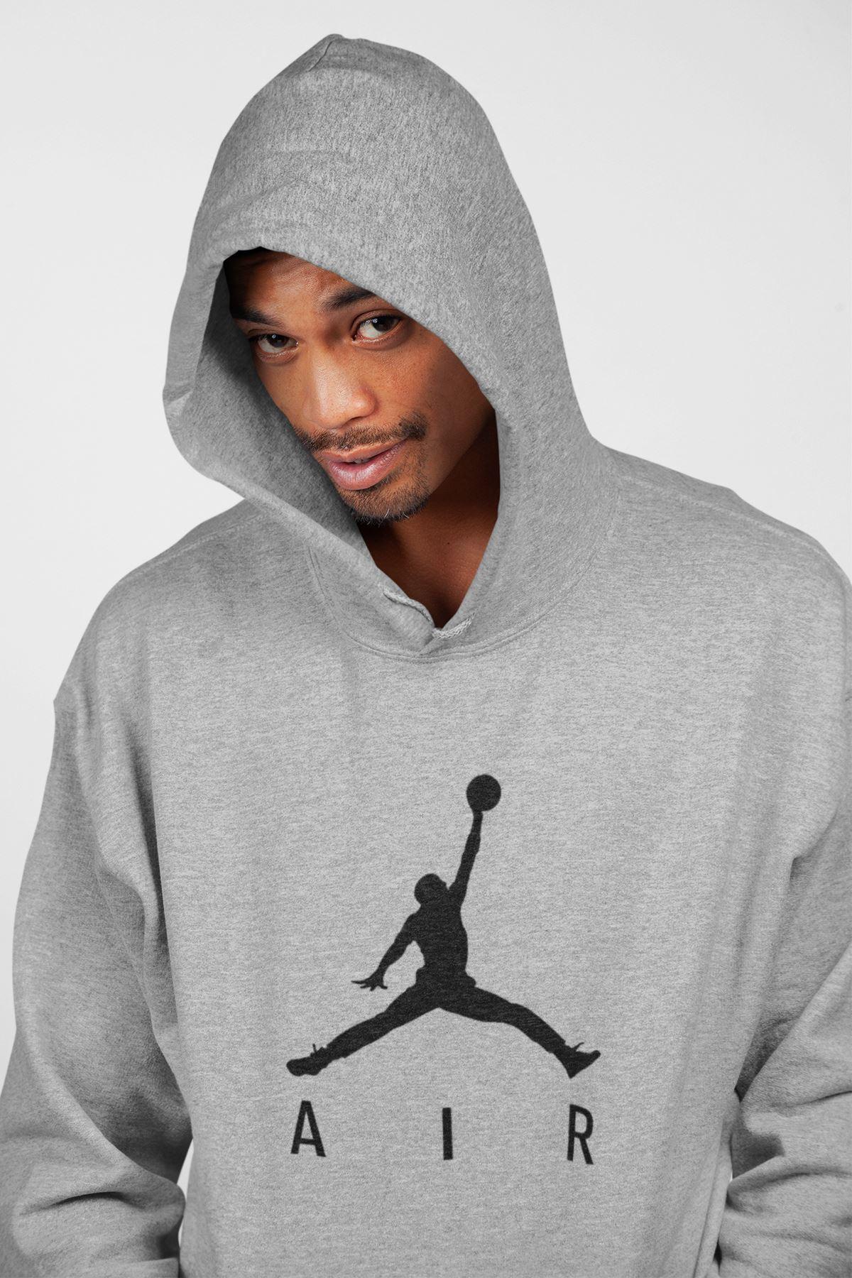 Basketbol 103 Gri Erkek Kapşonlu Sweatshirt - Hoodie