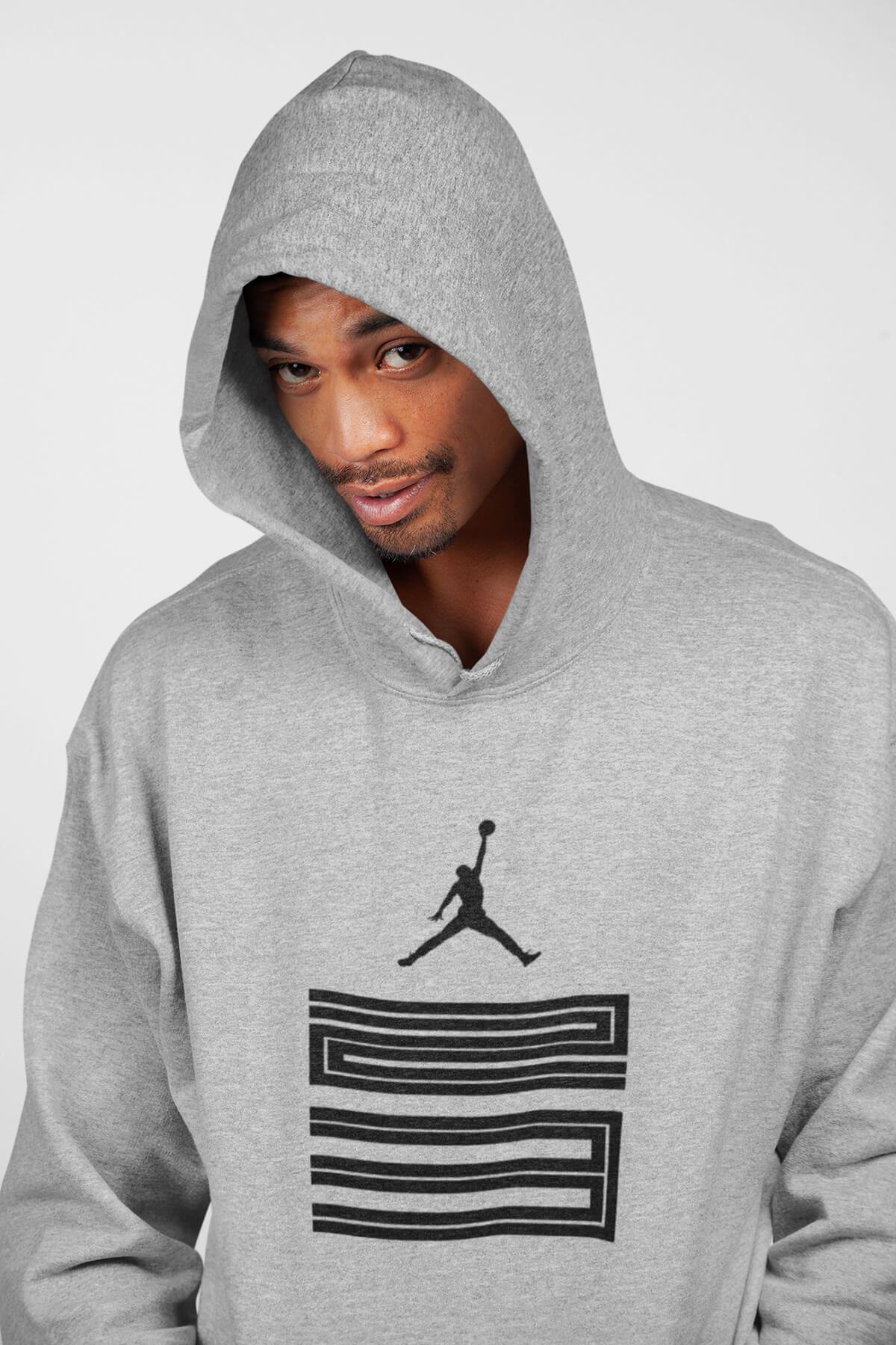 Basketbol 111 Gri Erkek Kapşonlu Sweatshirt - Hoodie