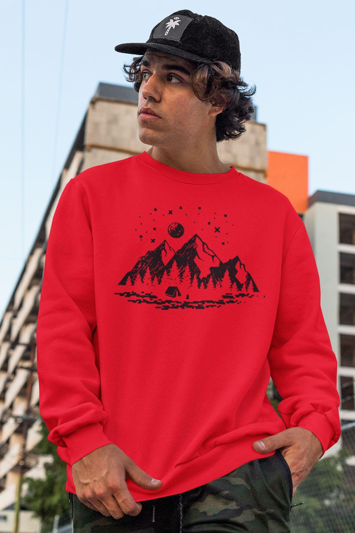 Camping Kırmızı Erkek Sweatshirt