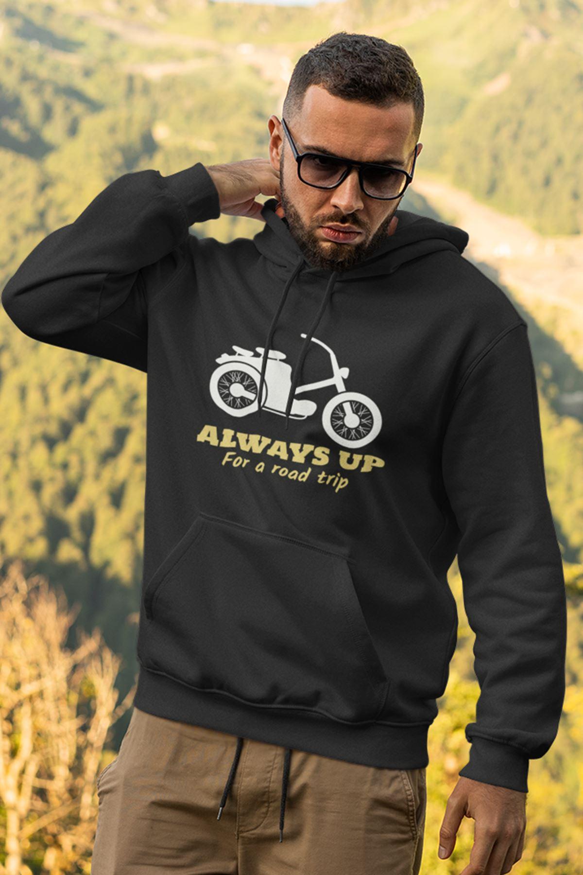 Motosiklet Siyah Erkek Kapşonlu Sweatshirt - Hoodie