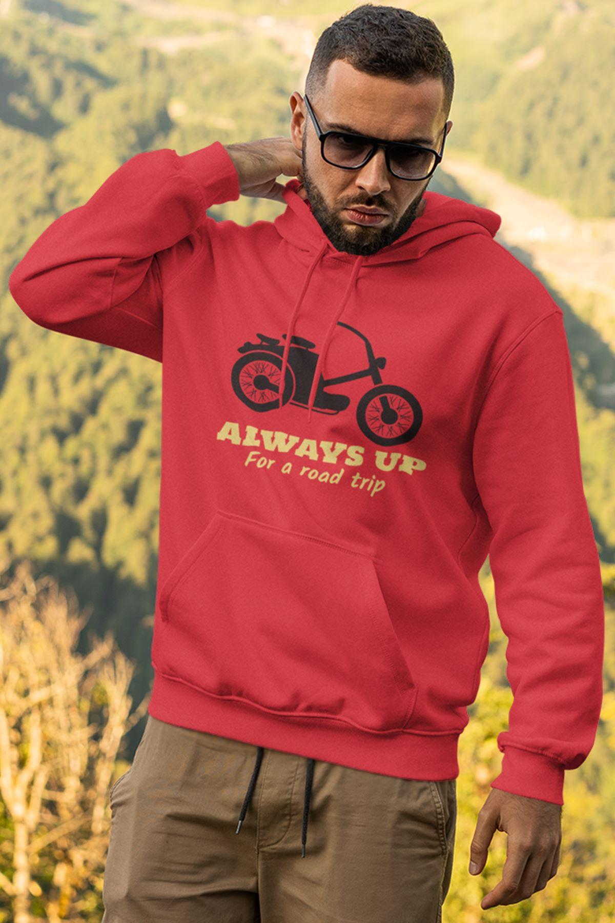 Motosiklet Kırmızı Erkek Kapşonlu Sweatshirt - Hoodie