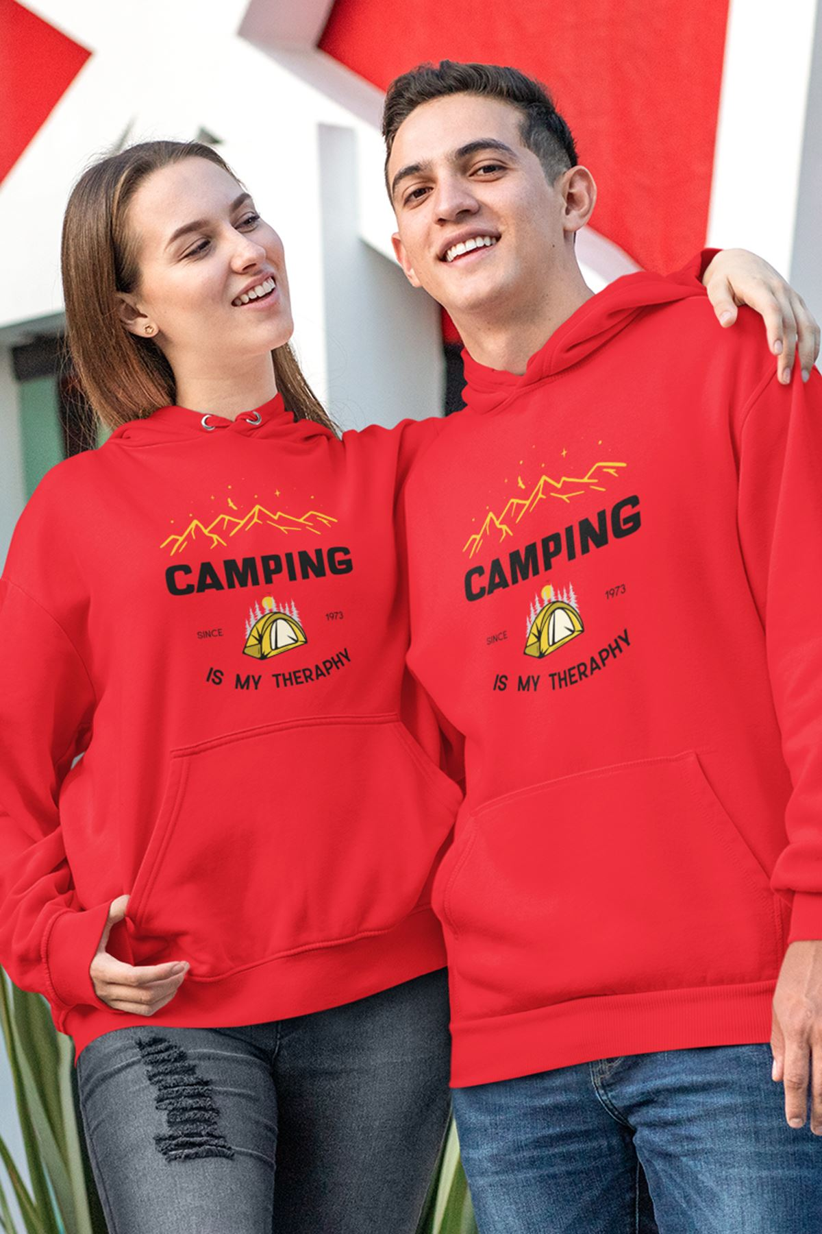Sevgili Kombini Camping 02 Kırmızı Kapşonlu Sweatshirt - Tek Ürün Fiyatıdır.